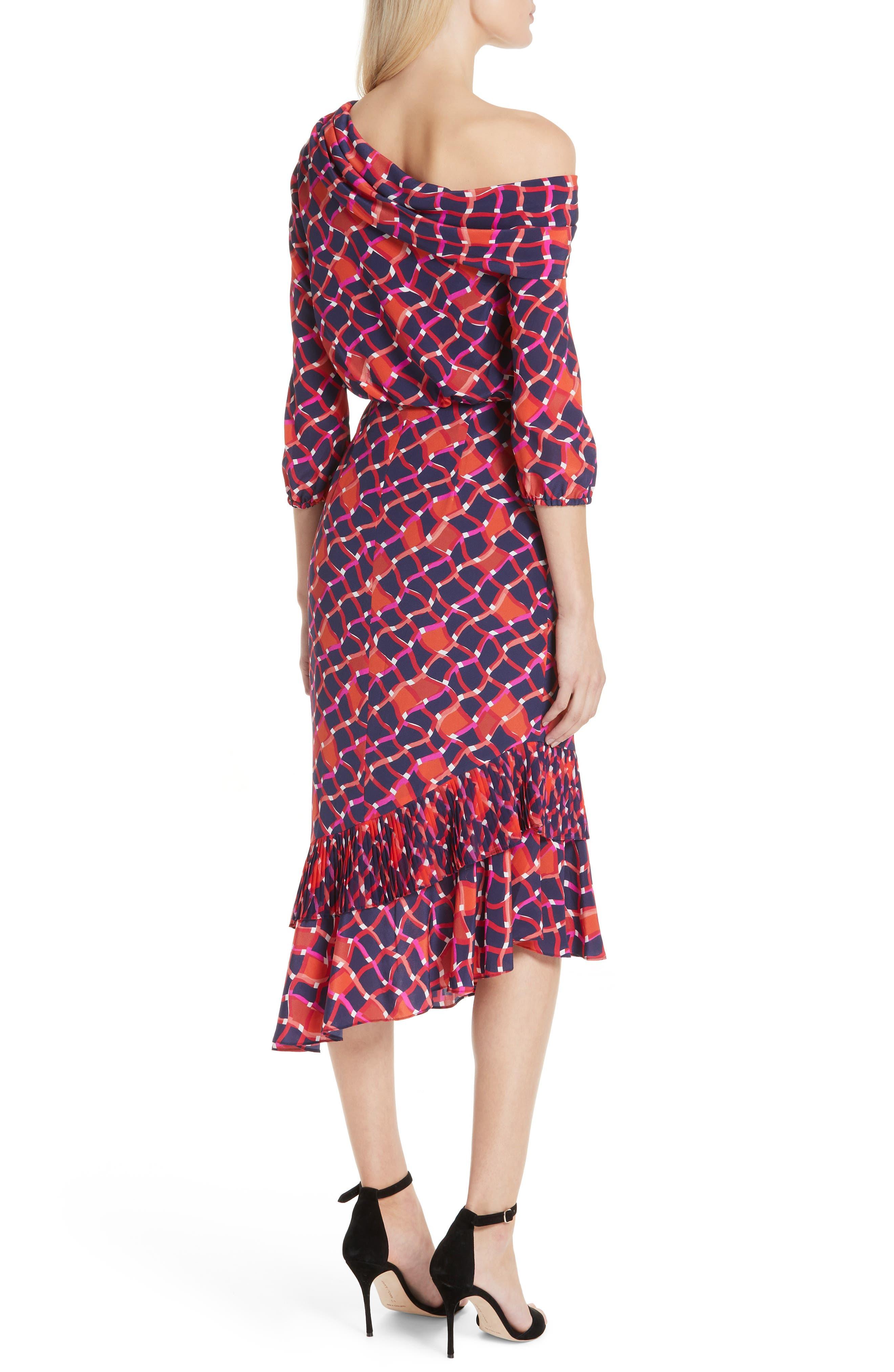 SALONI, Lexie Silk Asymmetrical Dress, Alternate thumbnail 2, color, MAZE
