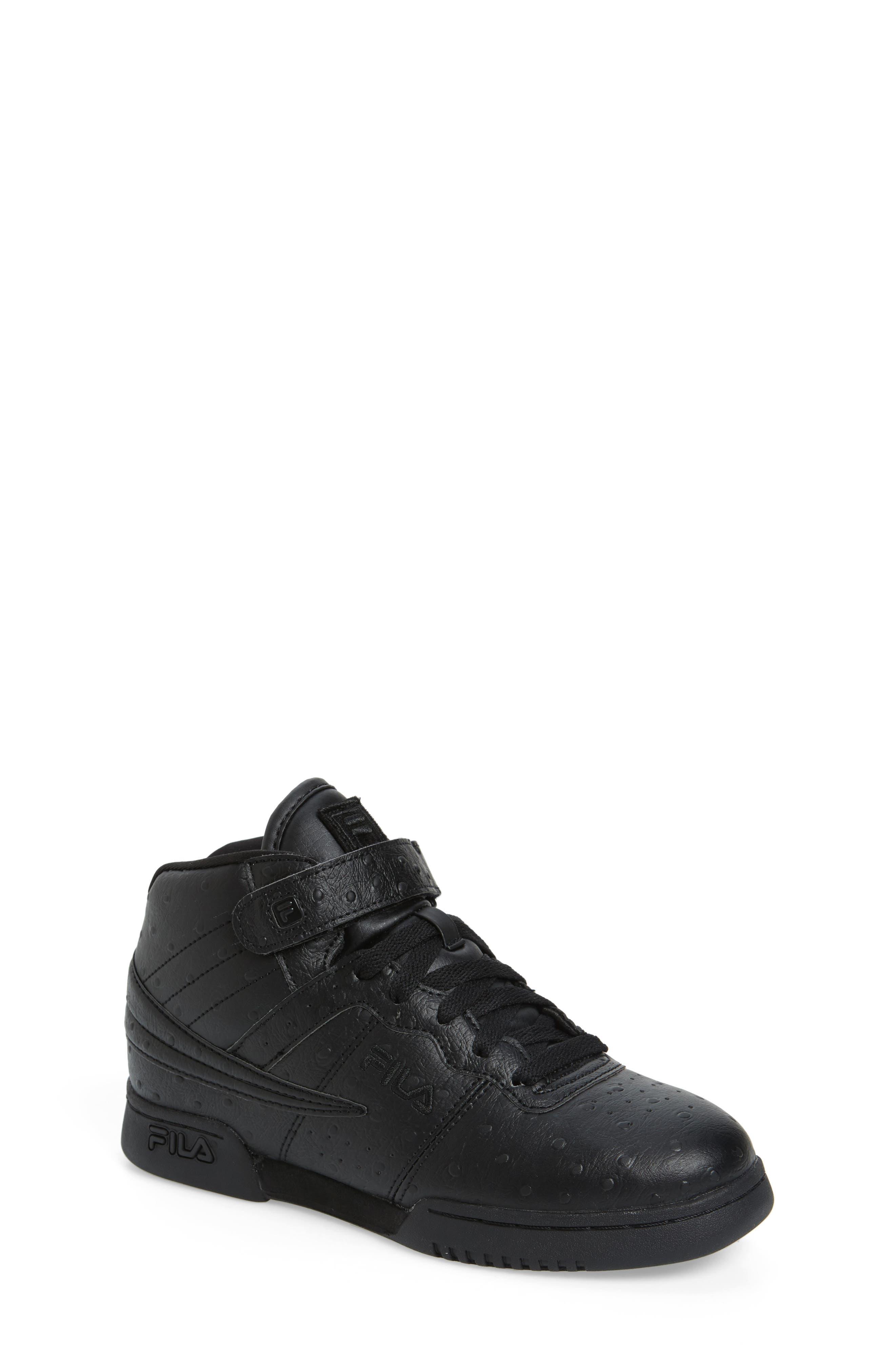 FILA, F-13 Ostrich Embossed High Top Sneaker, Main thumbnail 1, color, TRIPLE BLACK