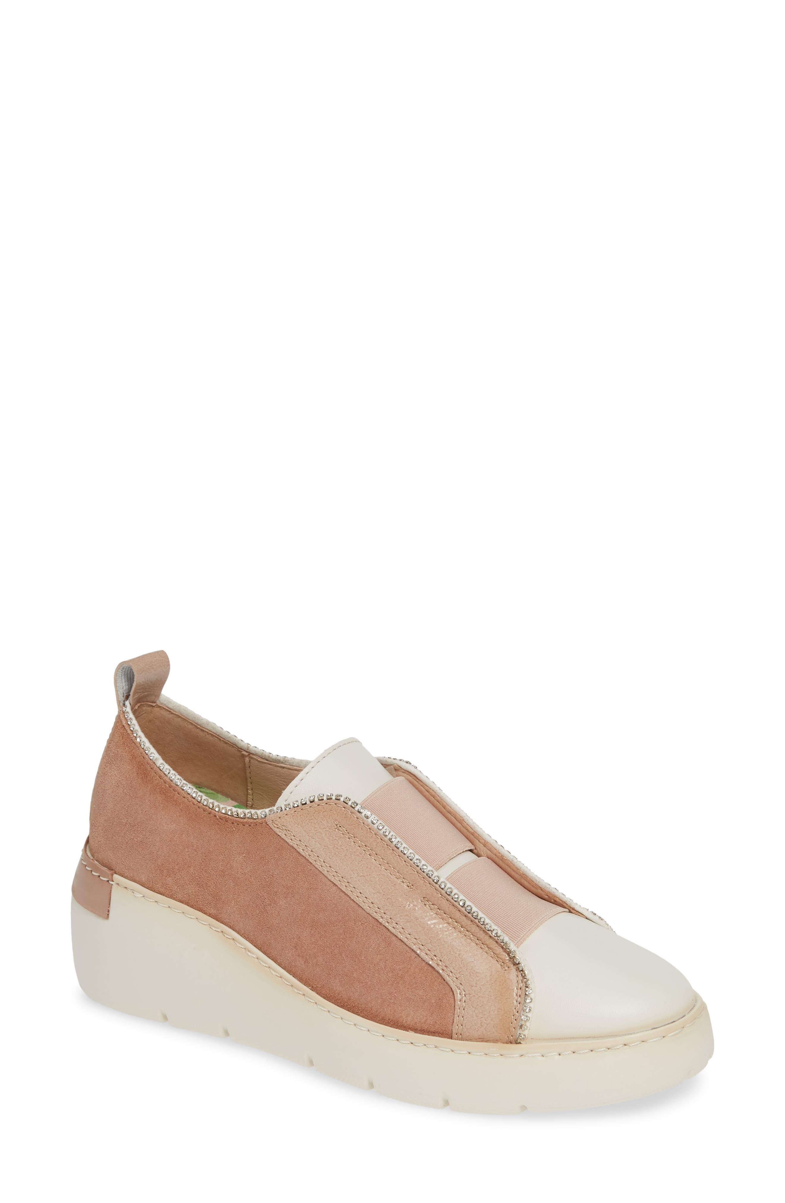HISPANITAS, Benton Slip-On Wedge Sneaker, Main thumbnail 1, color, VELOUR FLESH LEATHER