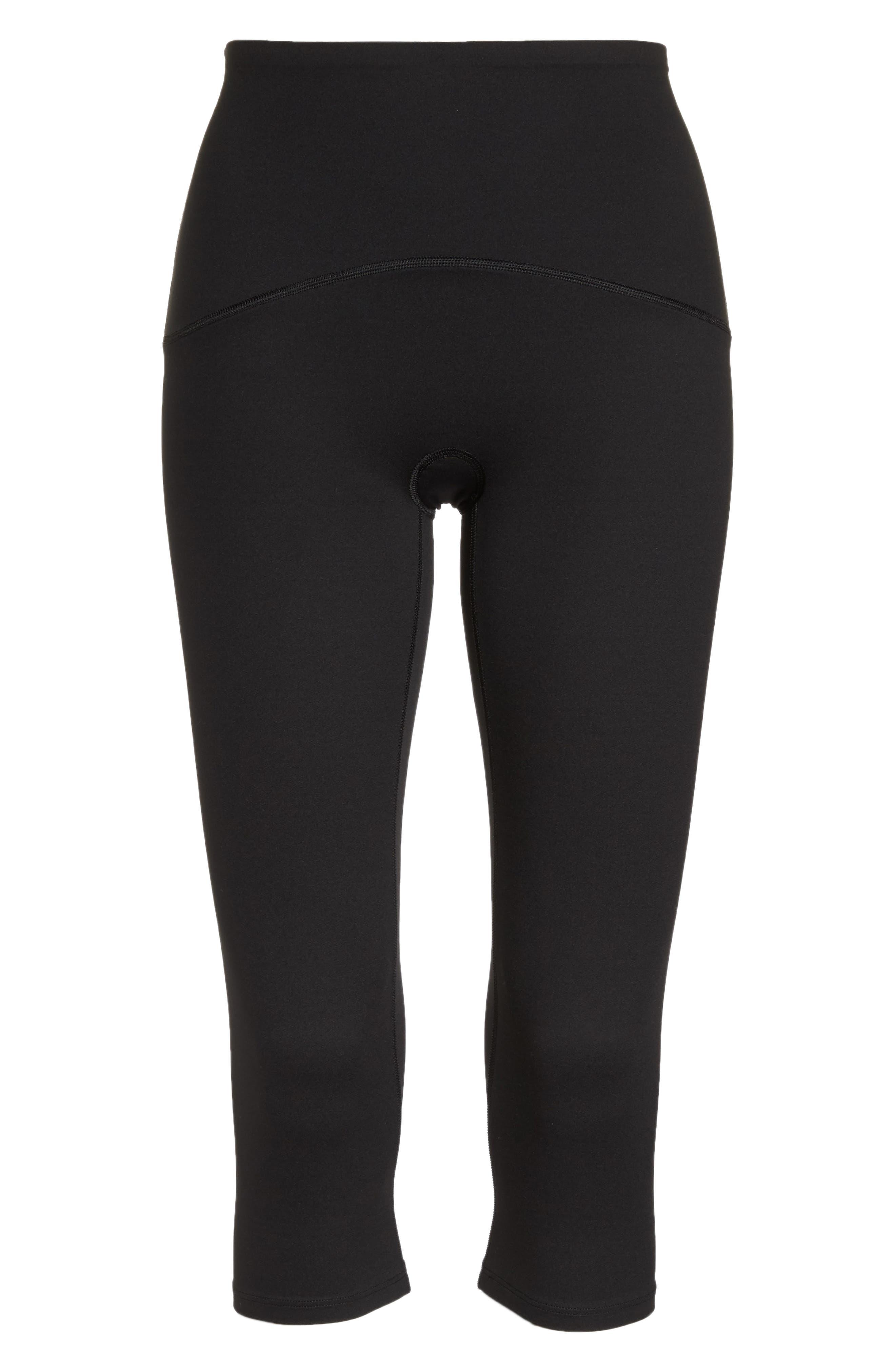 SPANX<SUP>®</SUP>, Active Knee-Length Leggings, Alternate thumbnail 7, color, BLACK
