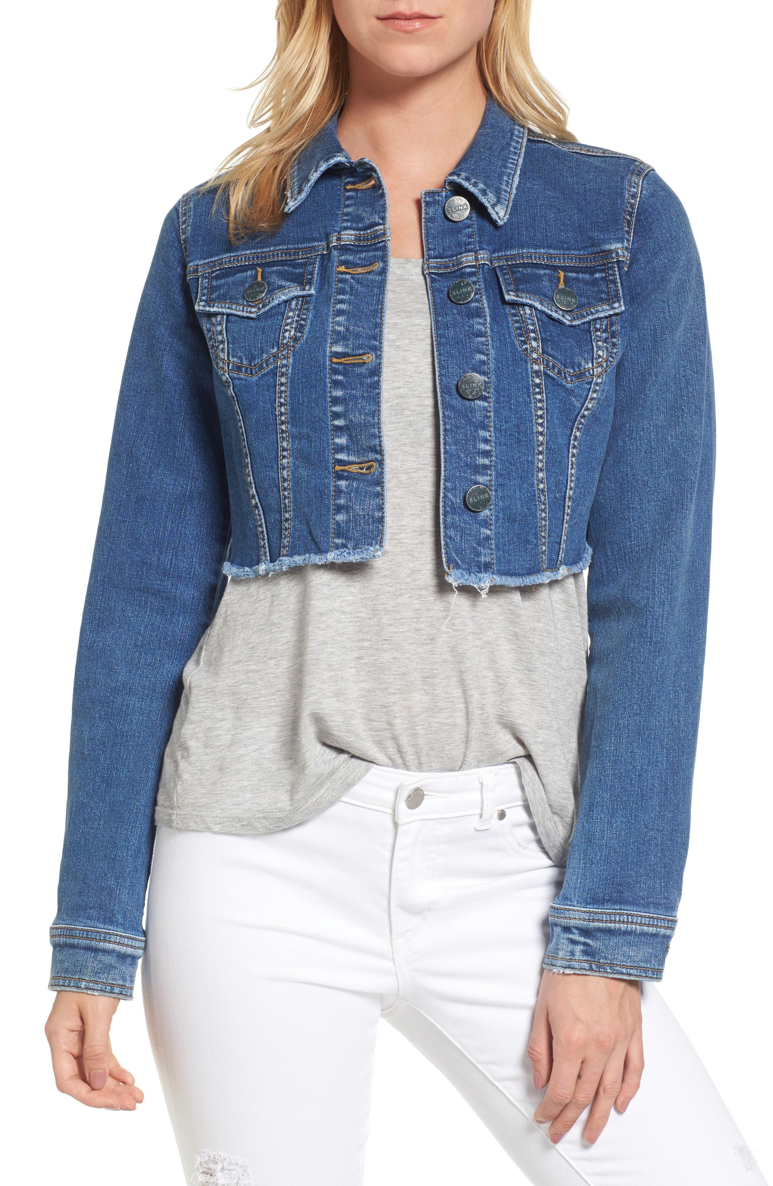 SLINK JEANS Fray Crop Jacket, Main, color, 495