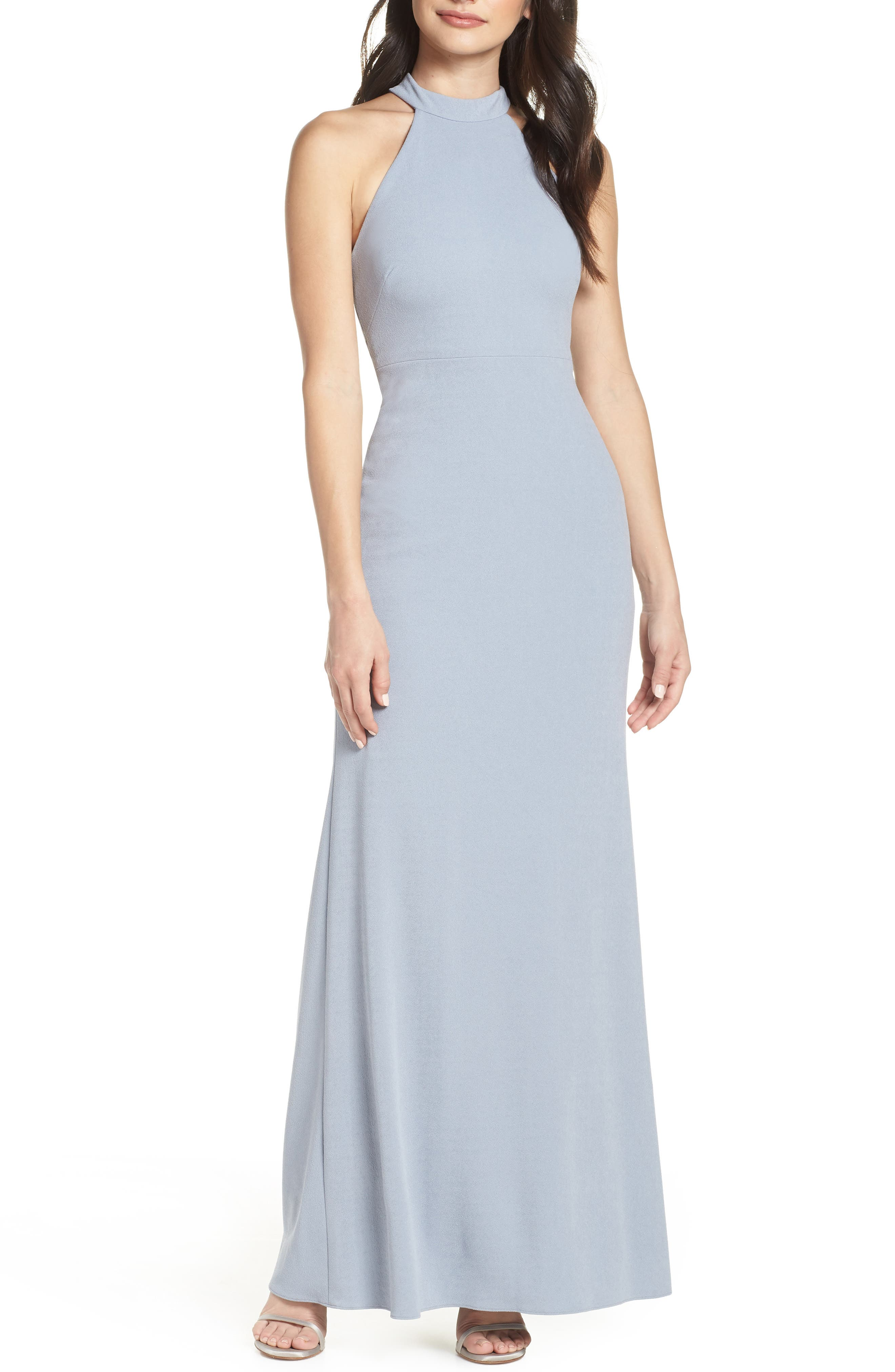 AFTER SIX Halter Neck Stretch Crepe Evening Dress, Main, color, PLATINUM