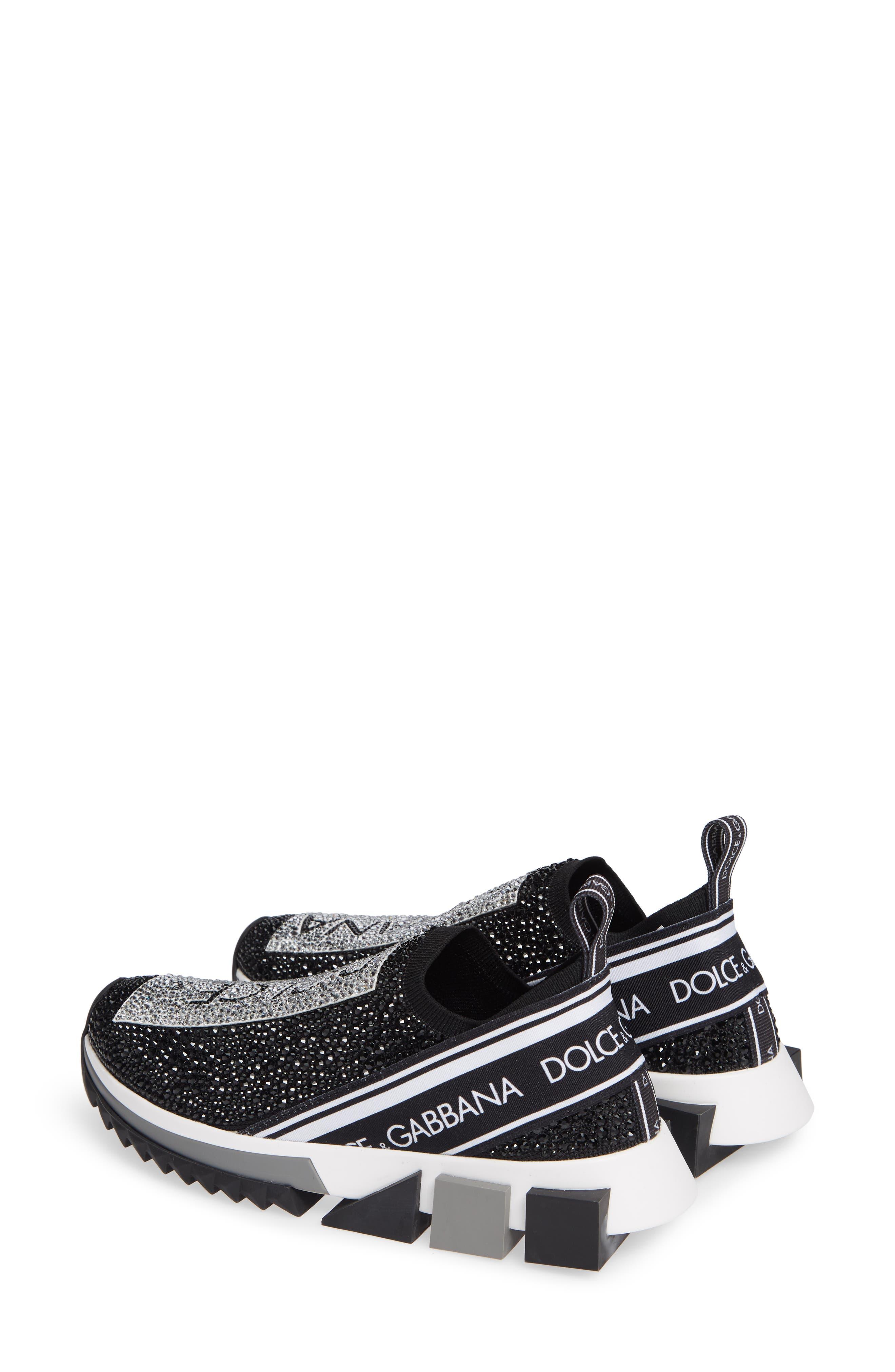 DOLCE&GABBANA, Sorrento Jeweled Logo Sneaker, Alternate thumbnail 3, color, 040