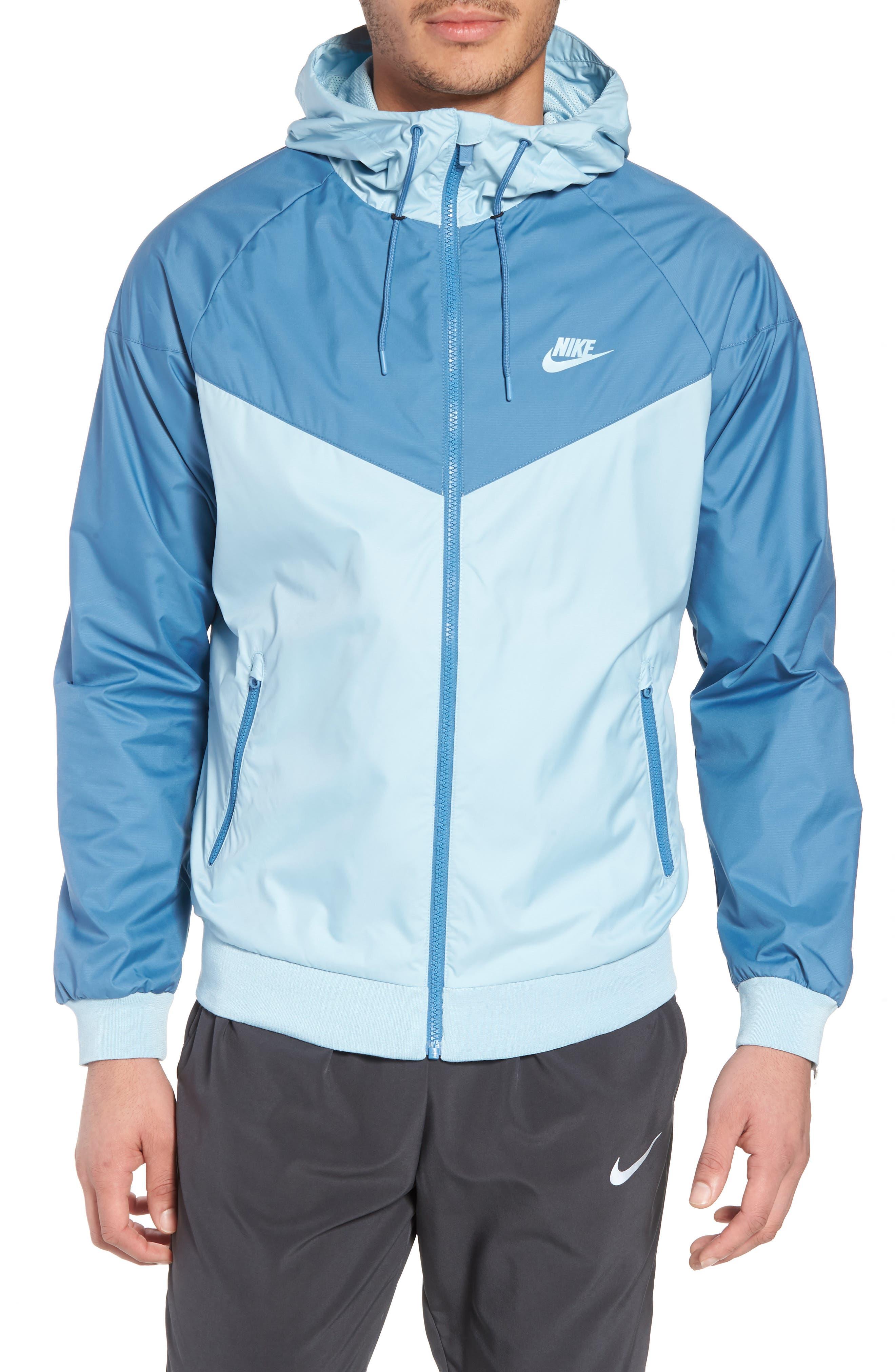 NIKE, Windrunner Colorblock Jacket, Main thumbnail 1, color, OCEAN BLISS/ AEGEAN STORM