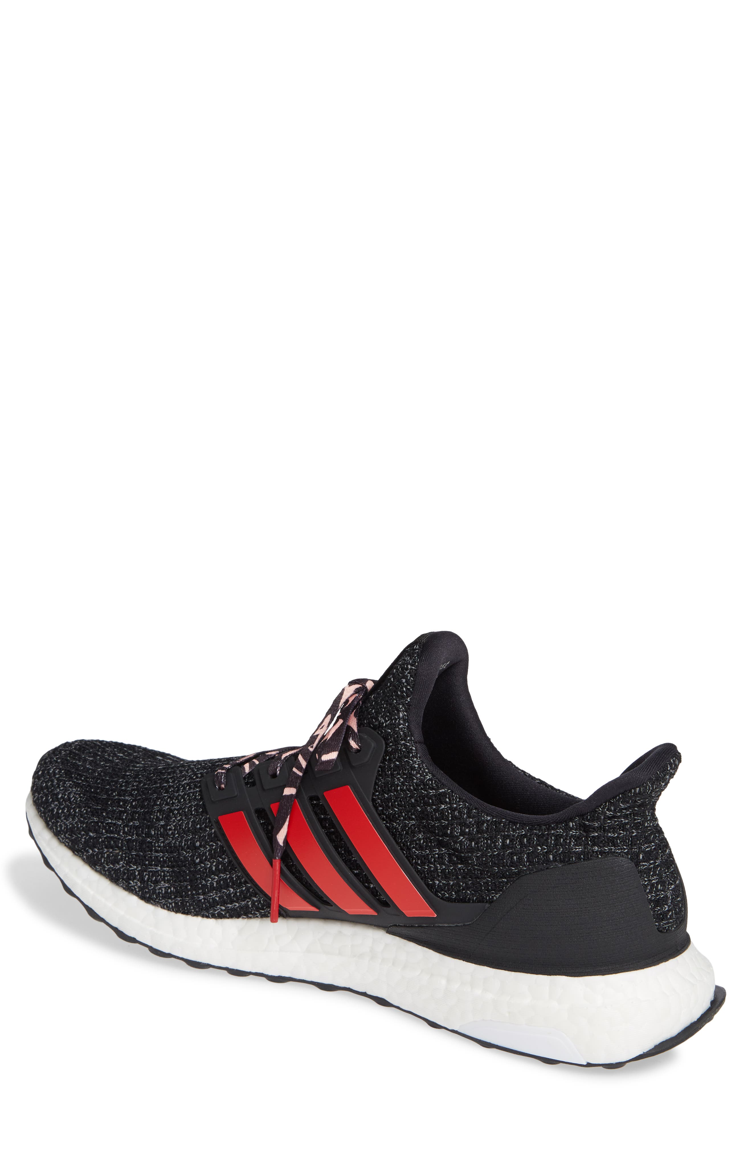 ADIDAS, 'UltraBoost' Running Shoe, Alternate thumbnail 2, color, CORE BLACK/ SCARLET/ GREY