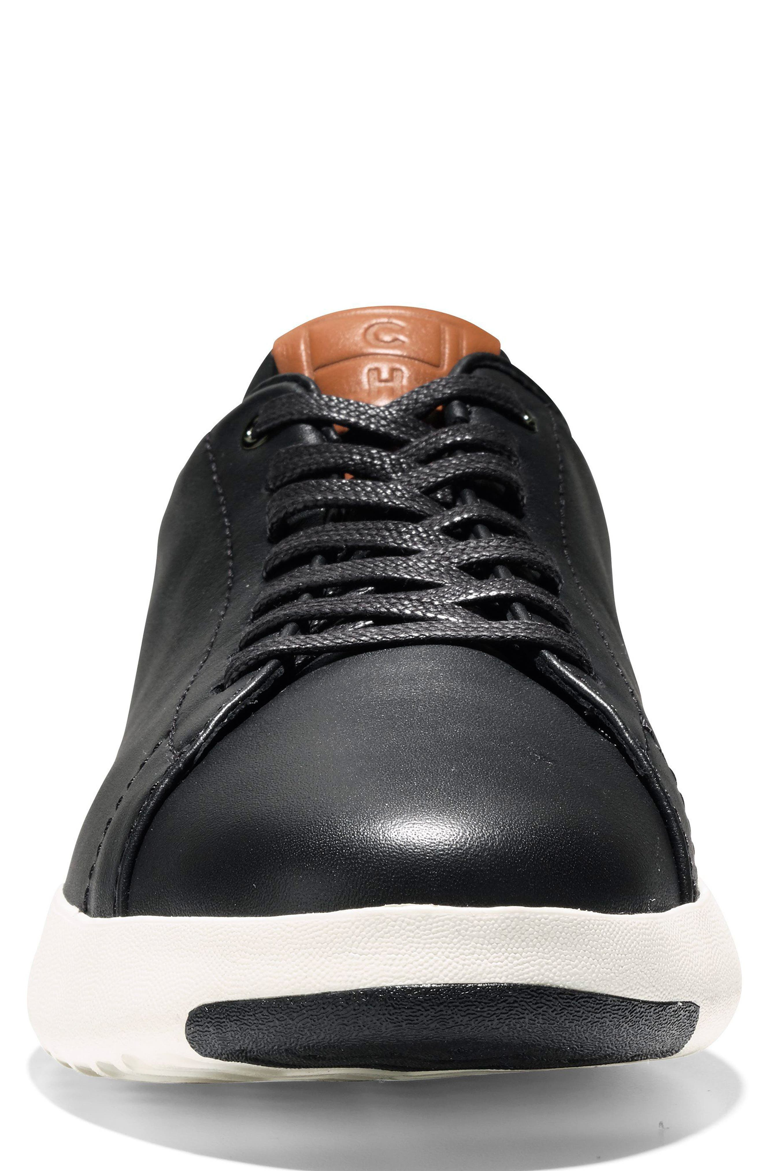 COLE HAAN, GrandPro Tennis Sneaker, Alternate thumbnail 4, color, BLACK/ BRITISH TAN