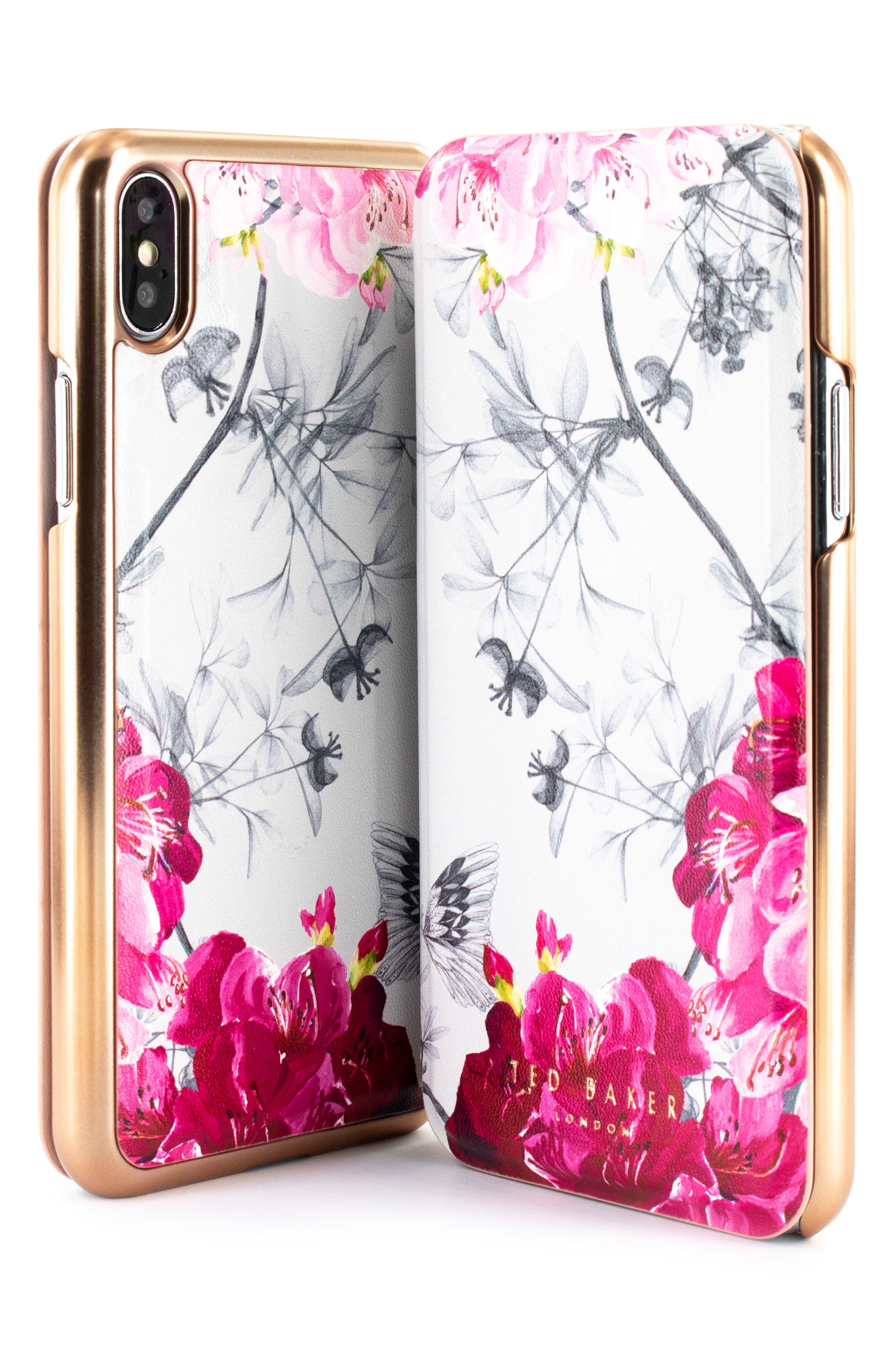 TED BAKER LONDON, Babylon iPhone X/Xs/Xs Max & XR Mirror Folio Case, Alternate thumbnail 5, color, GREY