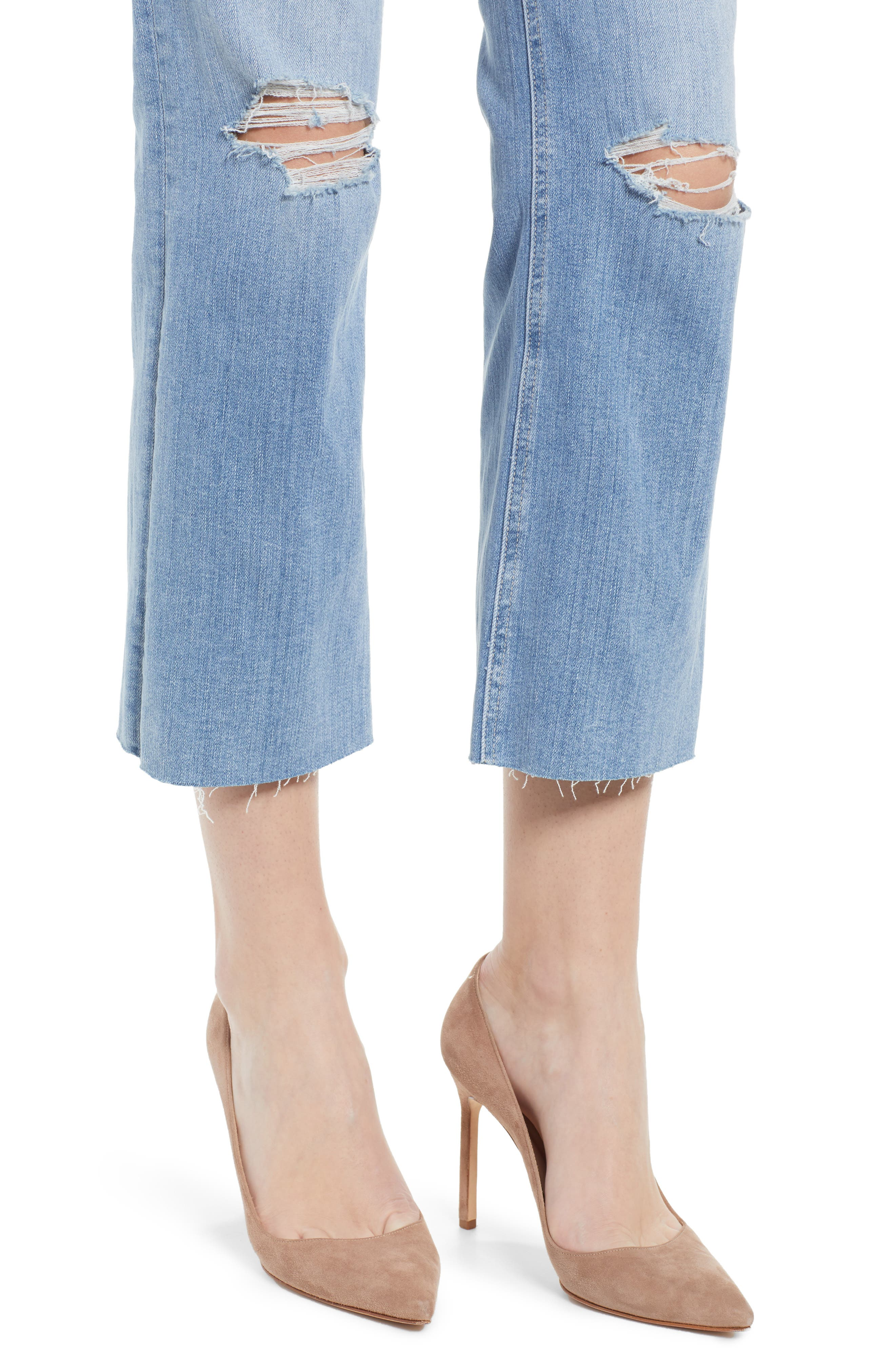 PAIGE, Atley Ripped Raw Hem Ankle Flare Jeans, Alternate thumbnail 5, color, FLORETTA DESTRUCTED