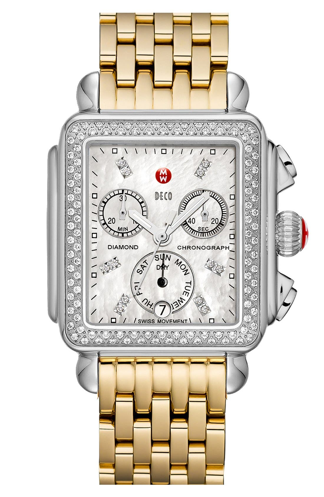 MICHELE, Deco Diamond Diamond Dial Watch Head, 33mm x 35mm, Alternate thumbnail 7, color, SILVER