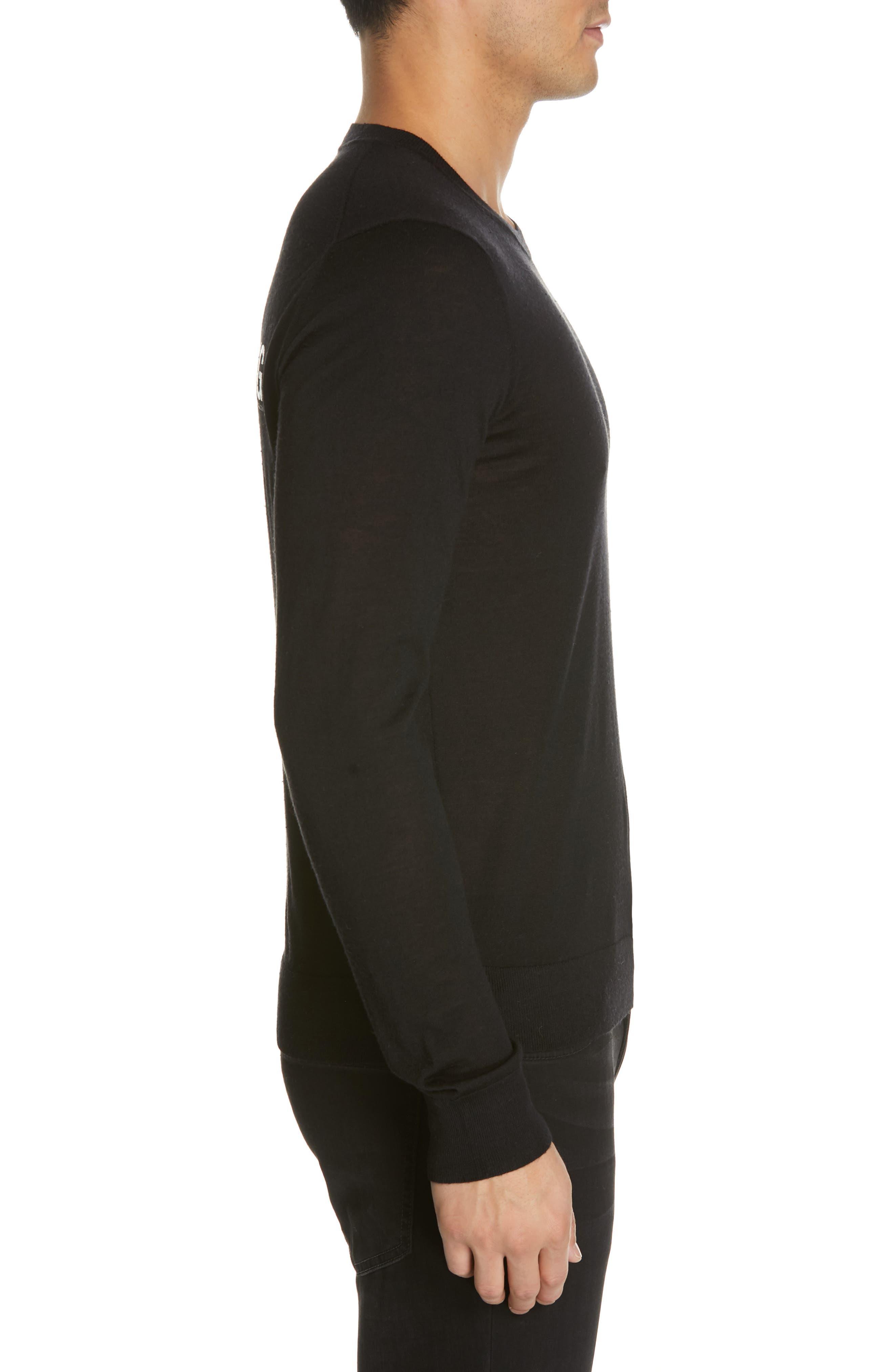 HELMUT LANG, Back Logo Wool & Silk Sweatshirt, Alternate thumbnail 3, color, BLACK