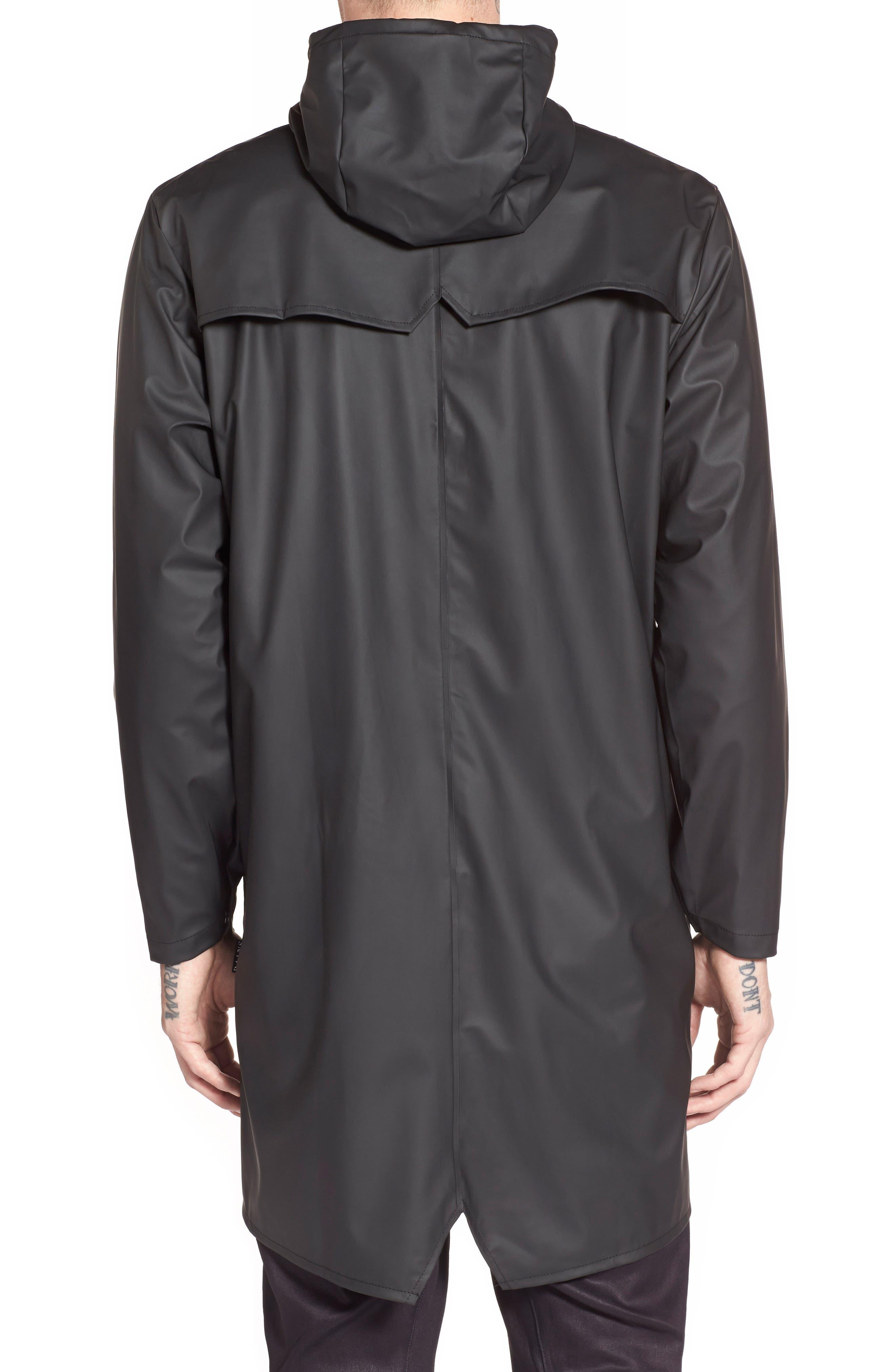 RAINS, Waterproof Hooded Long Rain Jacket, Alternate thumbnail 2, color, BLACK