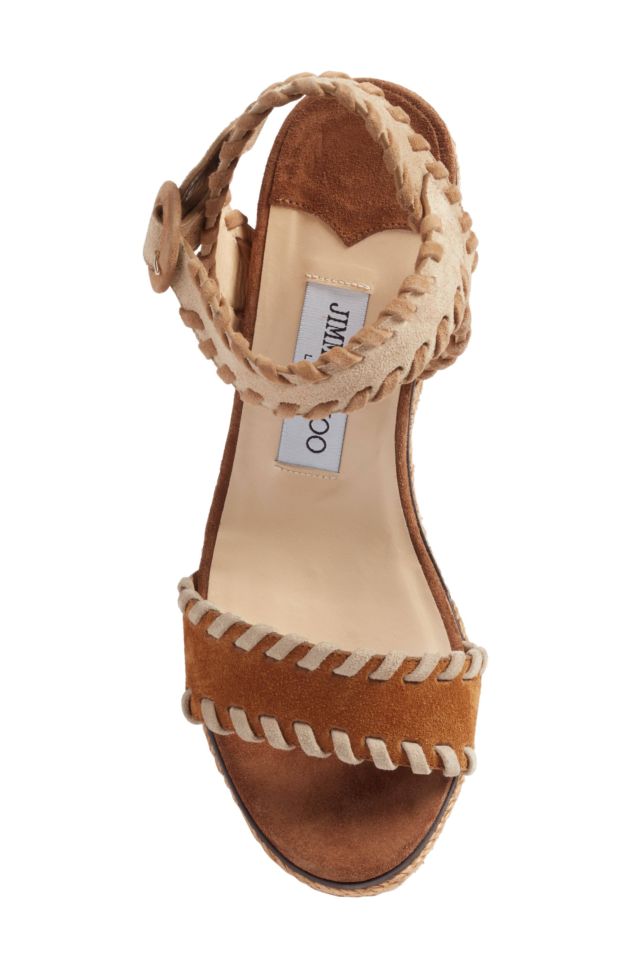JIMMY CHOO, Abigail Whipstitch Wedge, Alternate thumbnail 5, color, NATURAL/ BROWN