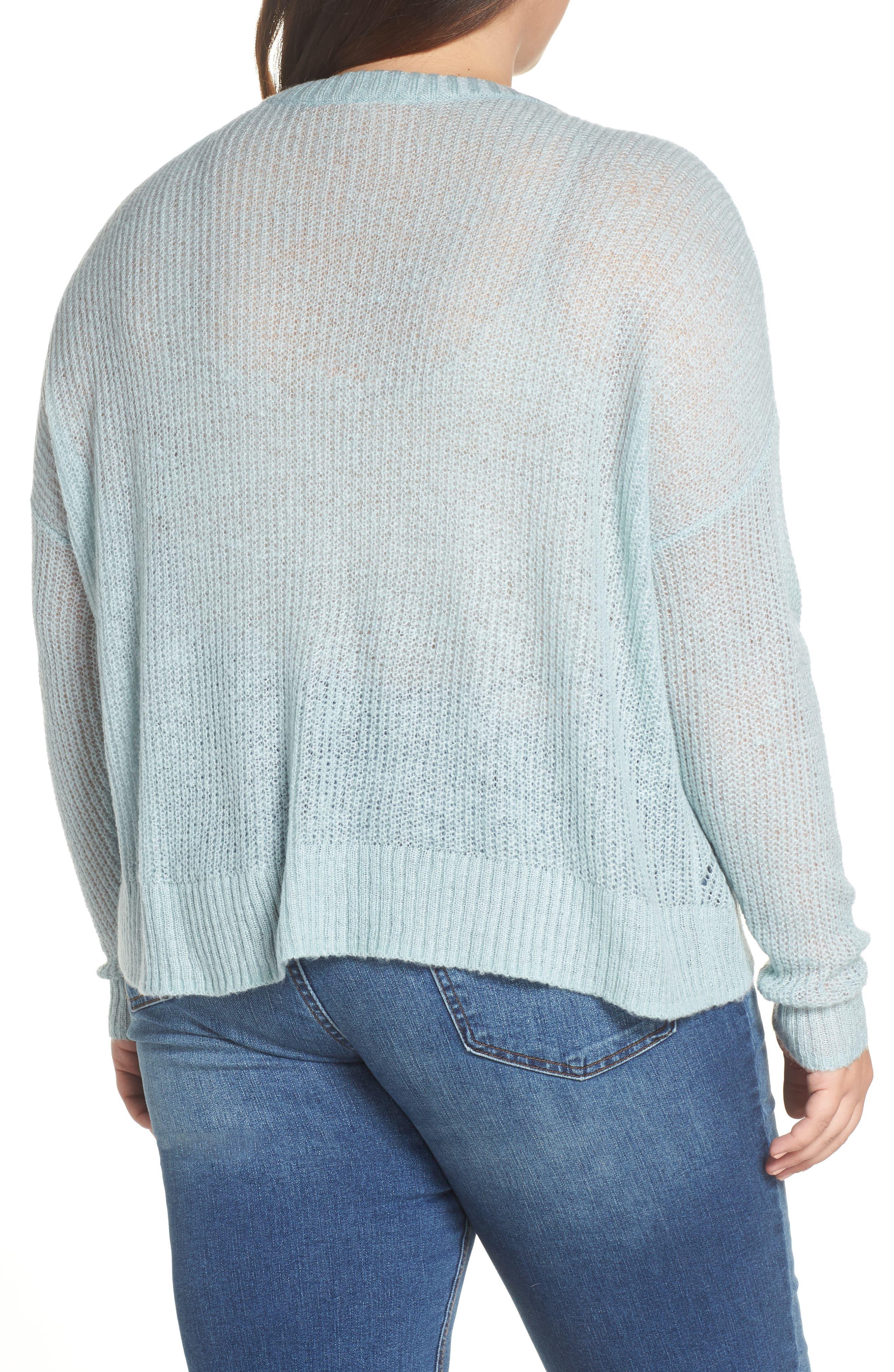 BP., Pointelle Stitch Sweater, Alternate thumbnail 8, color, BLUE CLOUD