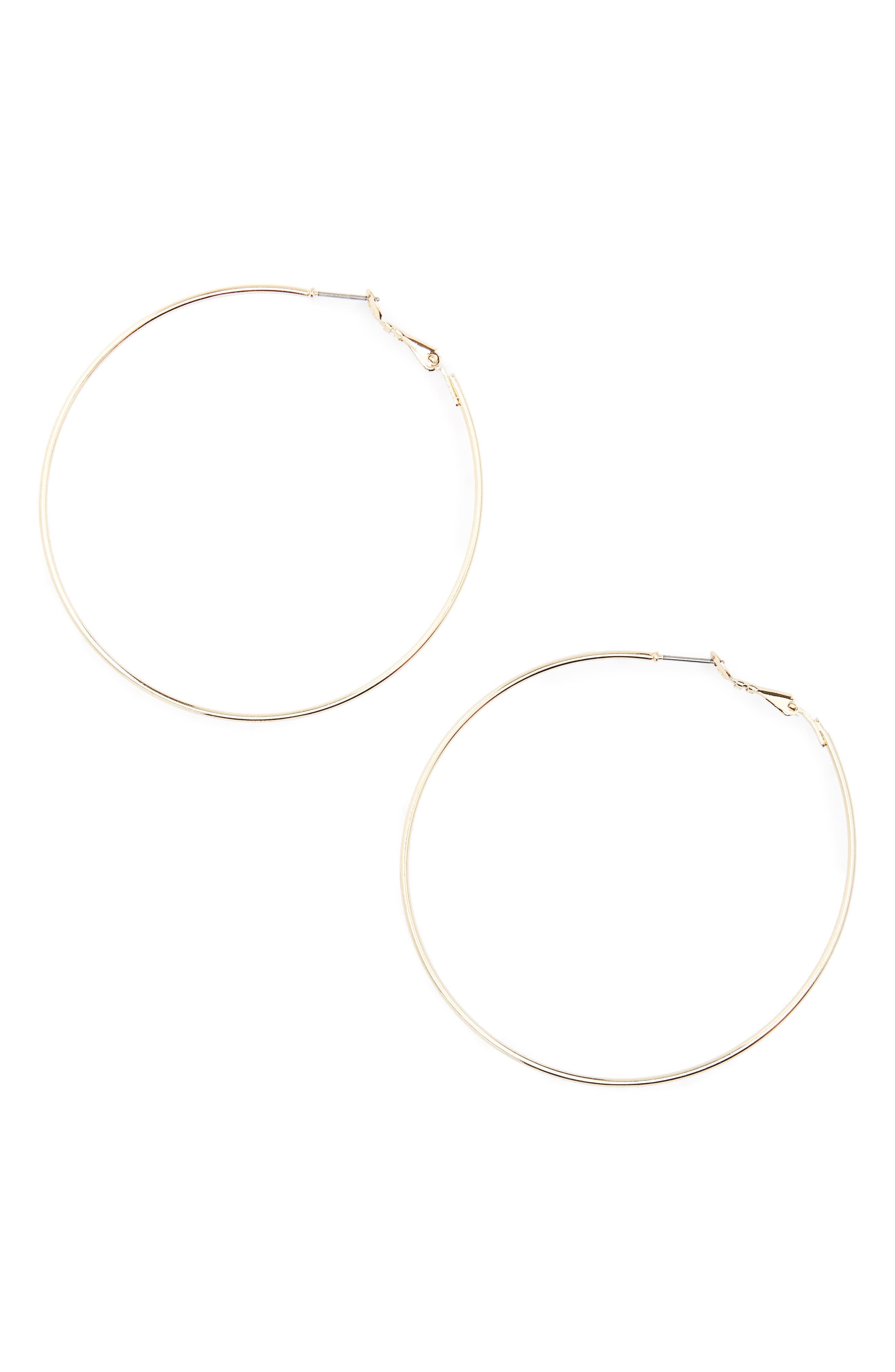 BP., Large Hoop Earrings, Alternate thumbnail 2, color, GOLD