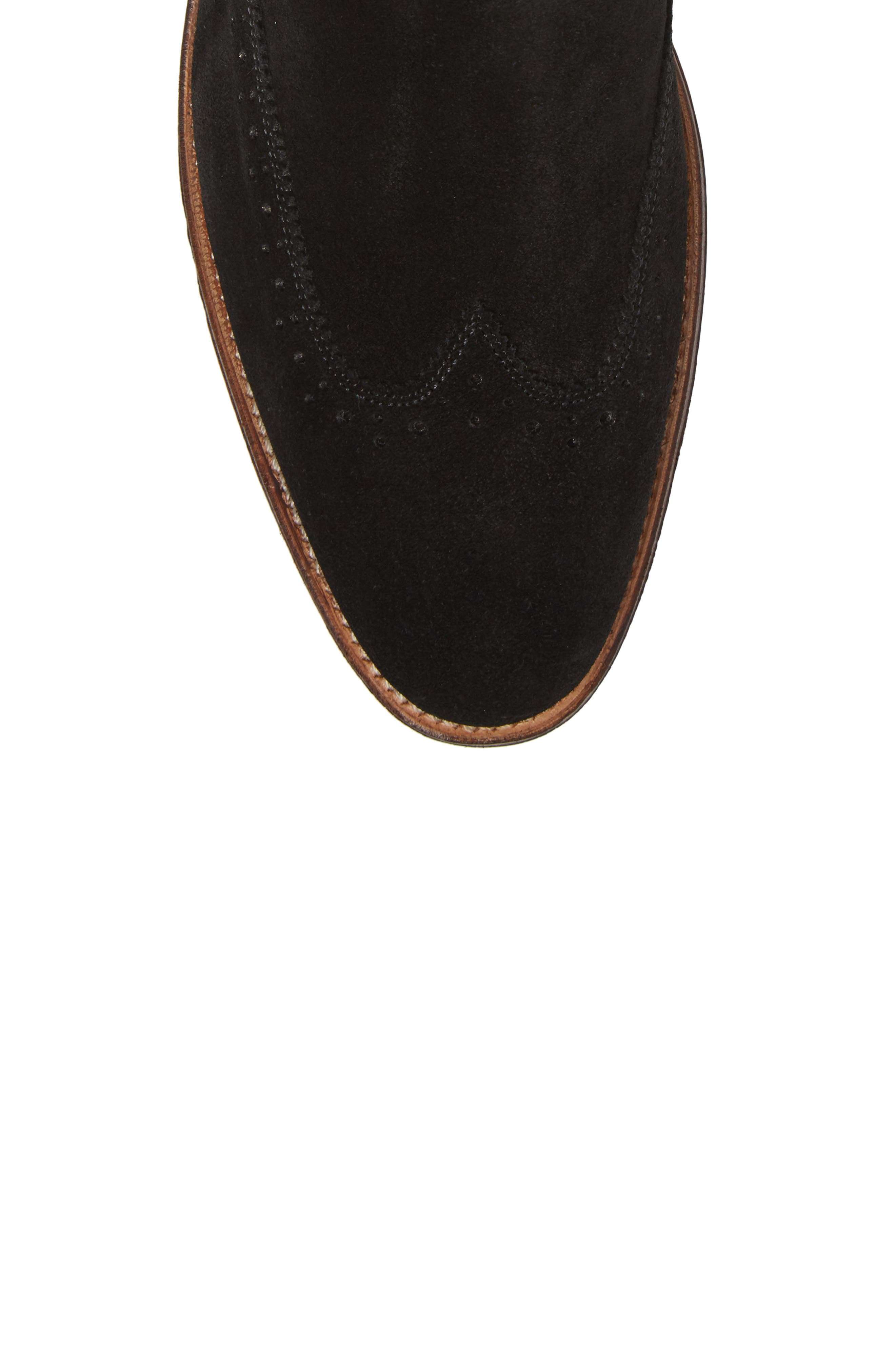 STACY ADAMS, Madison II Wingtip Chelsea Boot, Alternate thumbnail 5, color, BLACK SUEDE