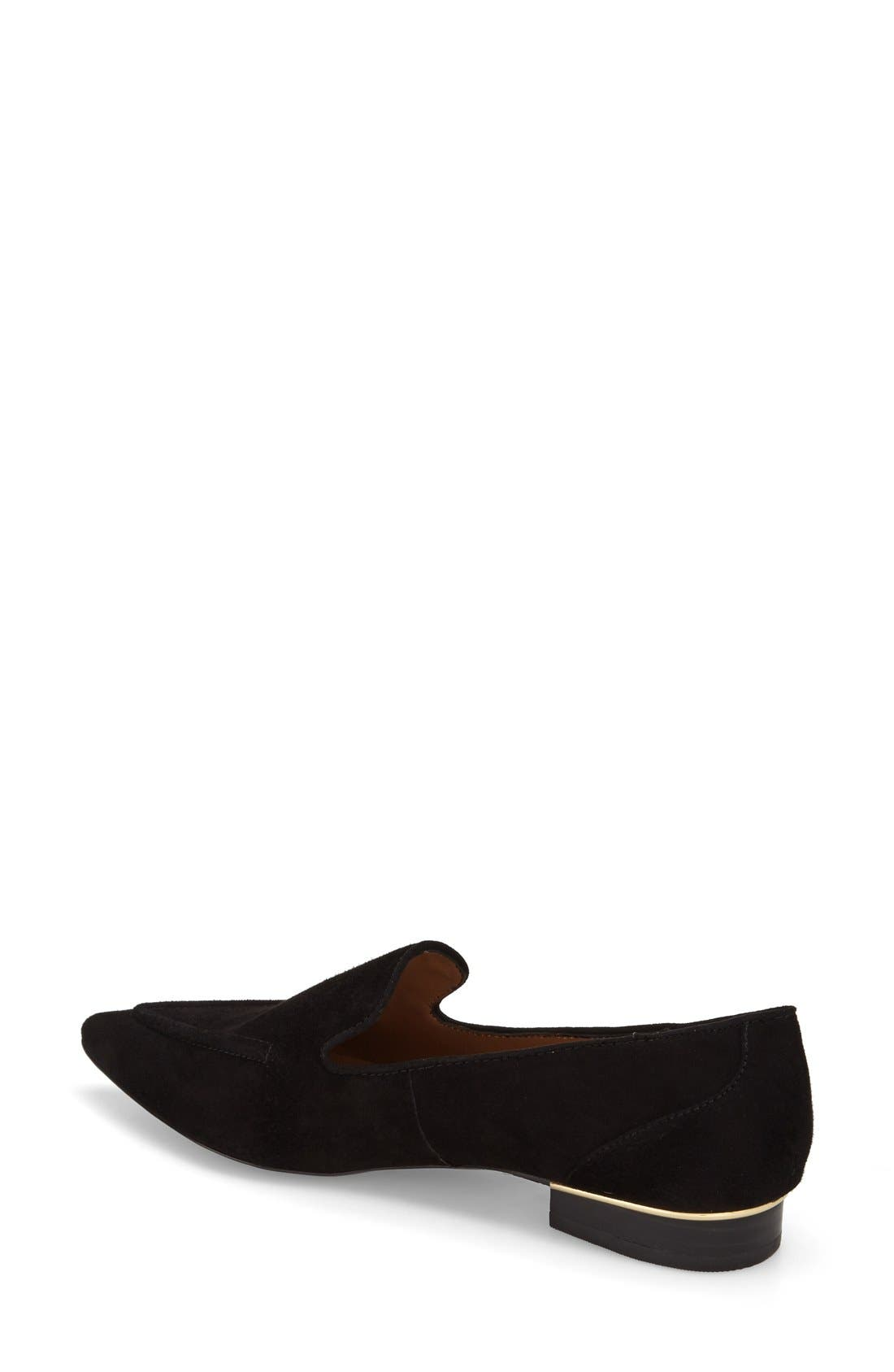 TOPSHOP, 'Kindred' Pointy Toe Loafer, Alternate thumbnail 3, color, 001
