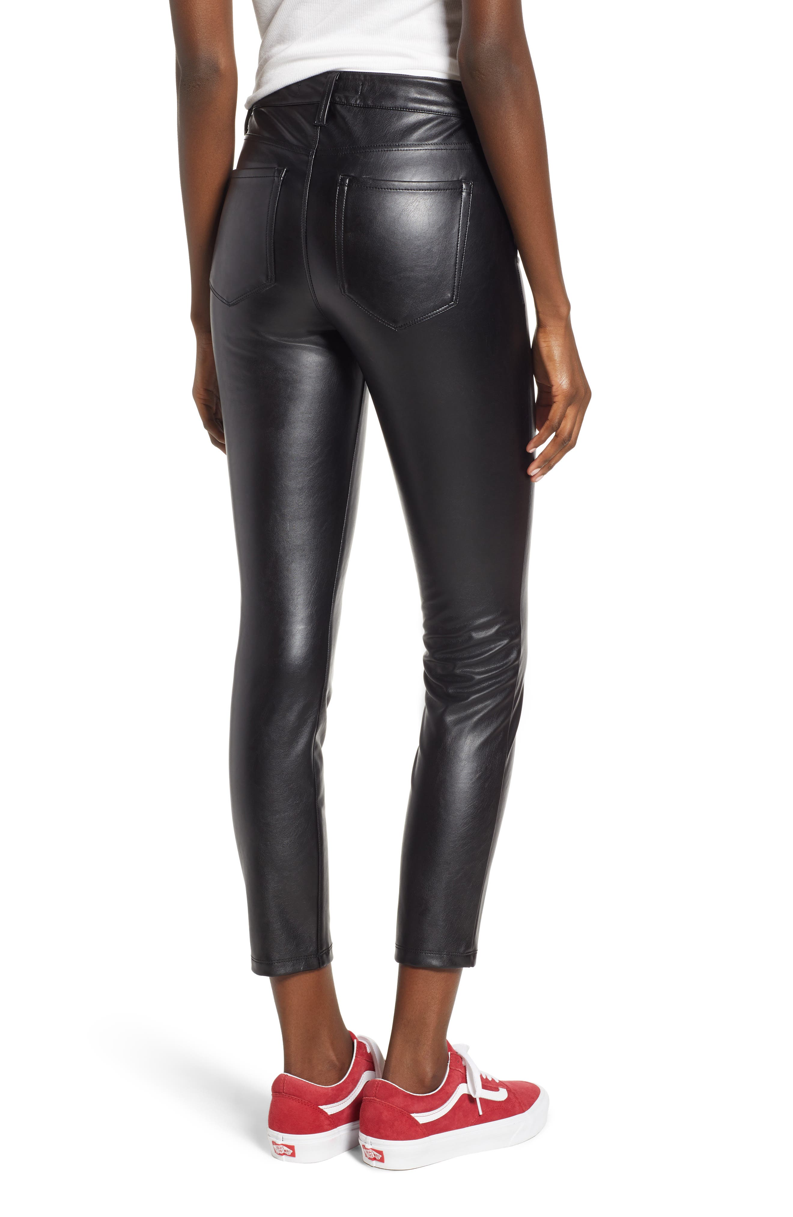 TINSEL, High Waist Faux Leather Skinny Pants, Alternate thumbnail 2, color, 001