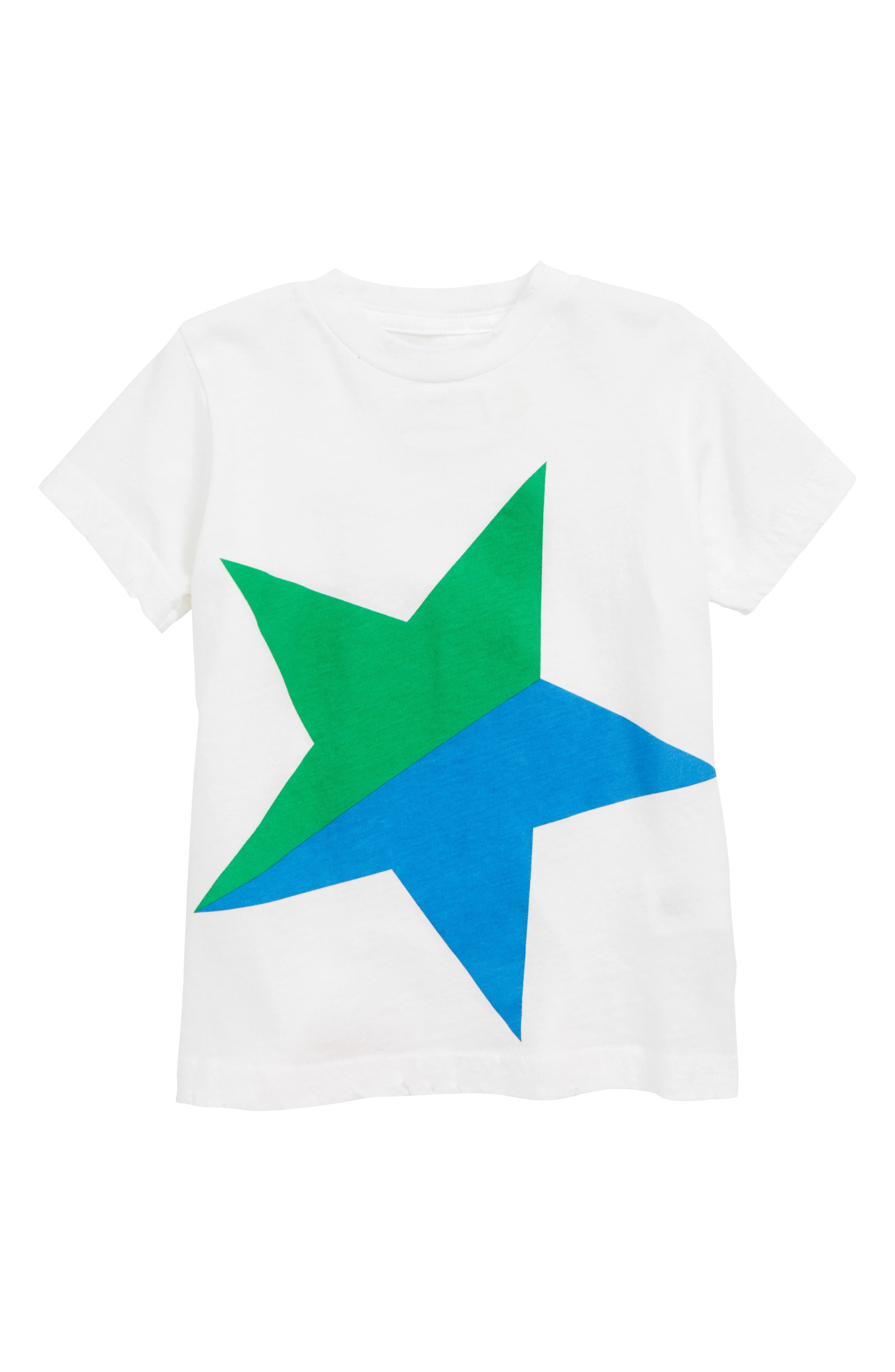 NUNUNU Colorful Star T-Shirt, Main, color, WHITE/ GREEN
