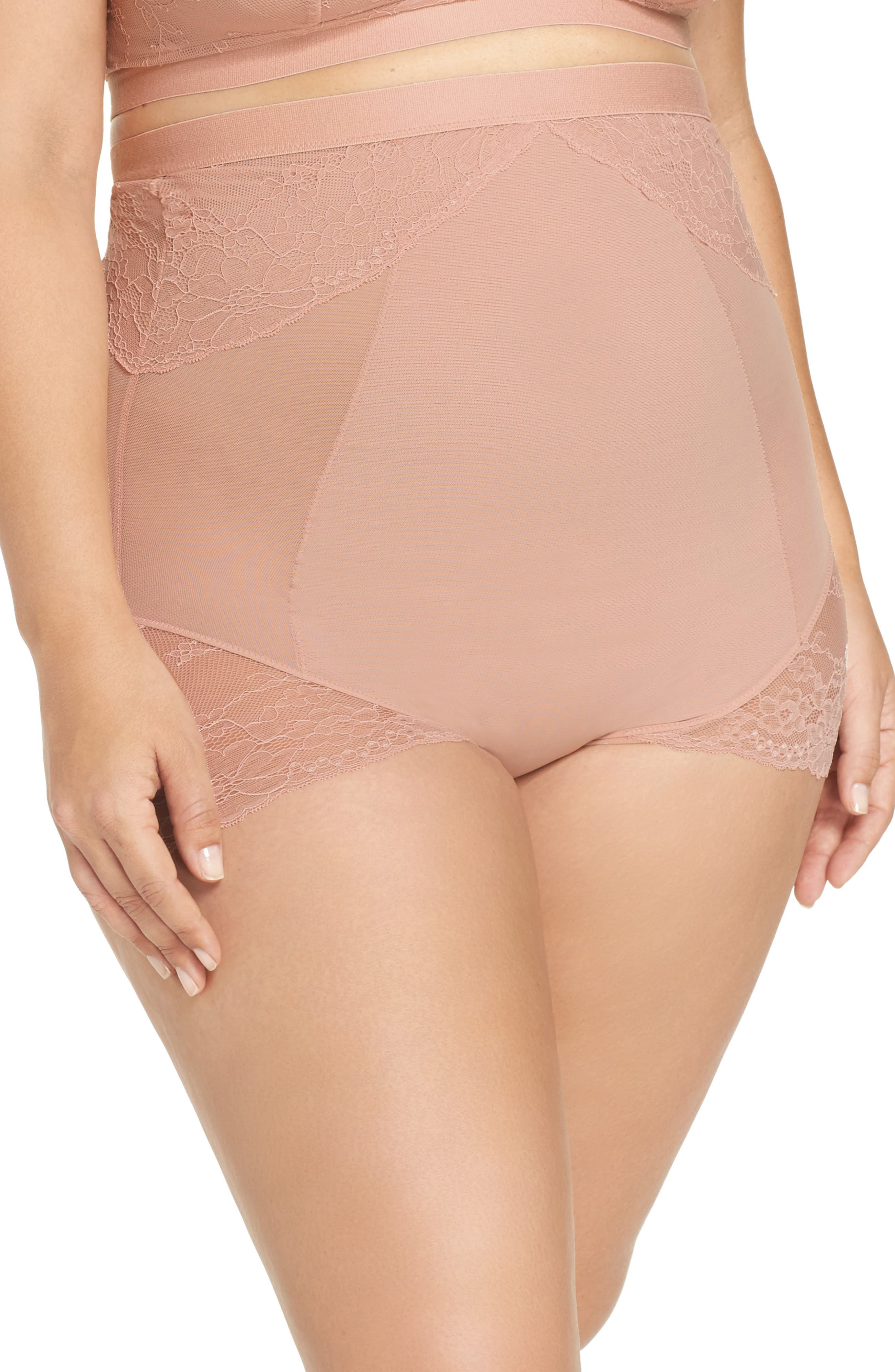 SPANX<SUP>®</SUP>, On Lace High Waist Briefs, Main thumbnail 1, color, VINTAGE ROSE