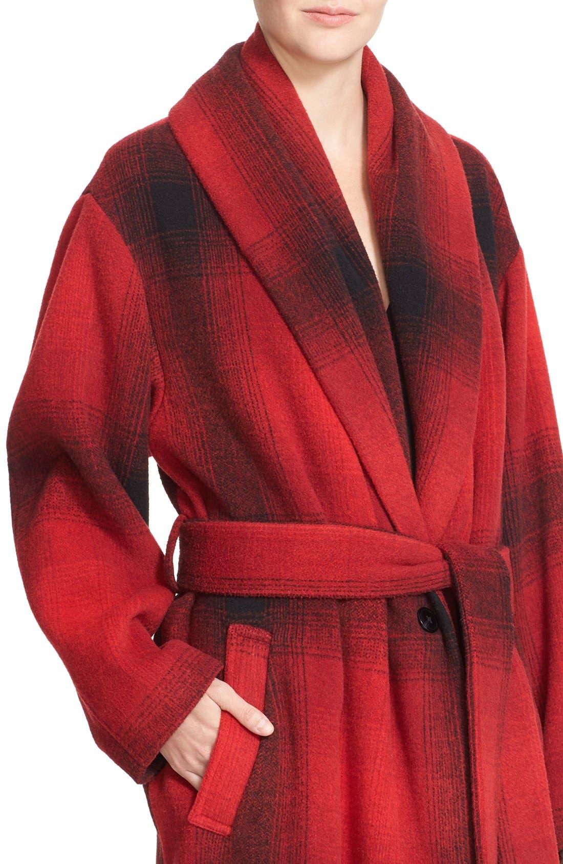 ALEXANDERWANG.T, T by Alexander Wang Fringe Oversized Shawl Collar Coat, Alternate thumbnail 4, color, 001