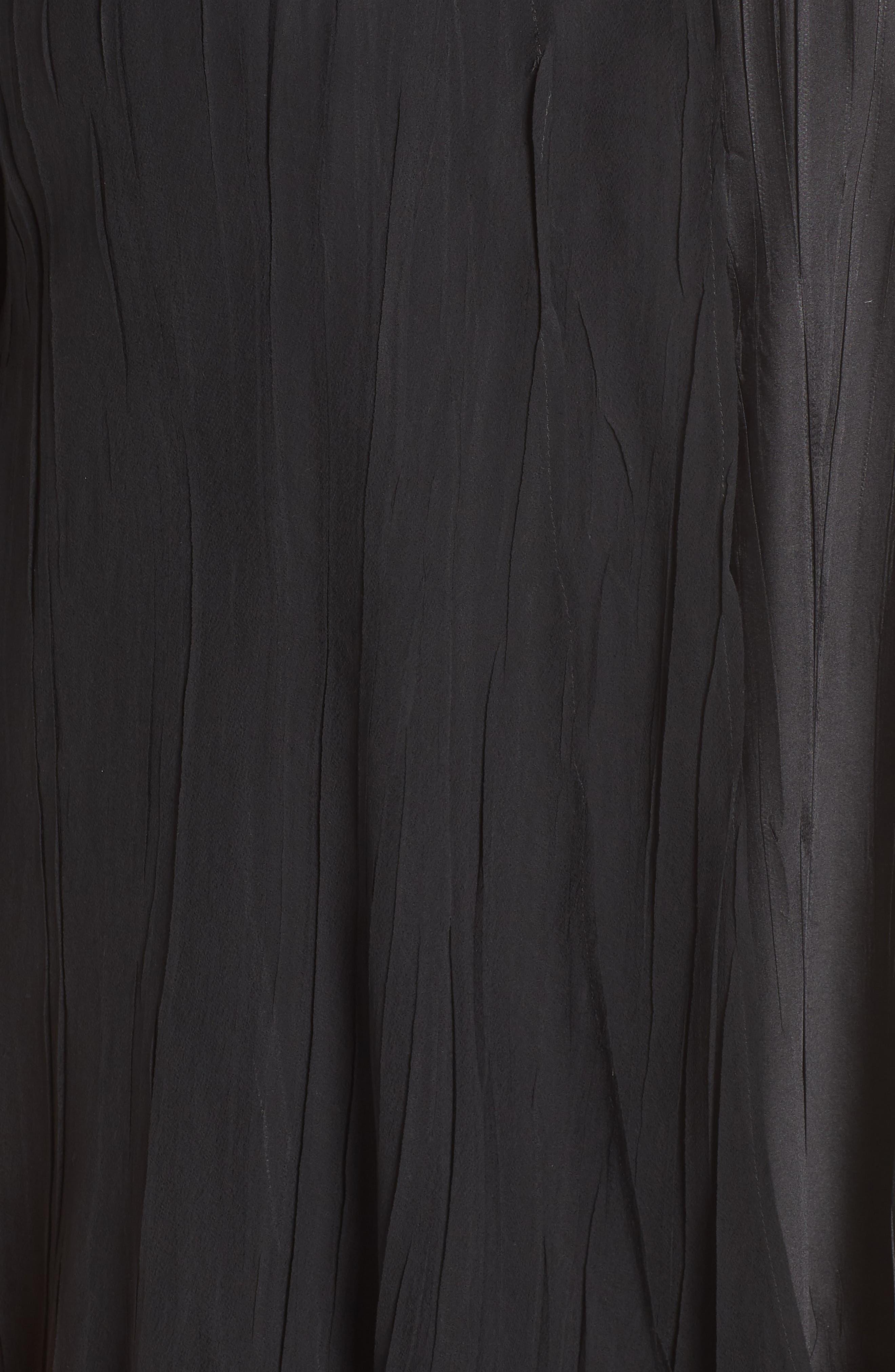 KOMAROV, Beaded Neck Chiffon Dress, Alternate thumbnail 6, color, 001