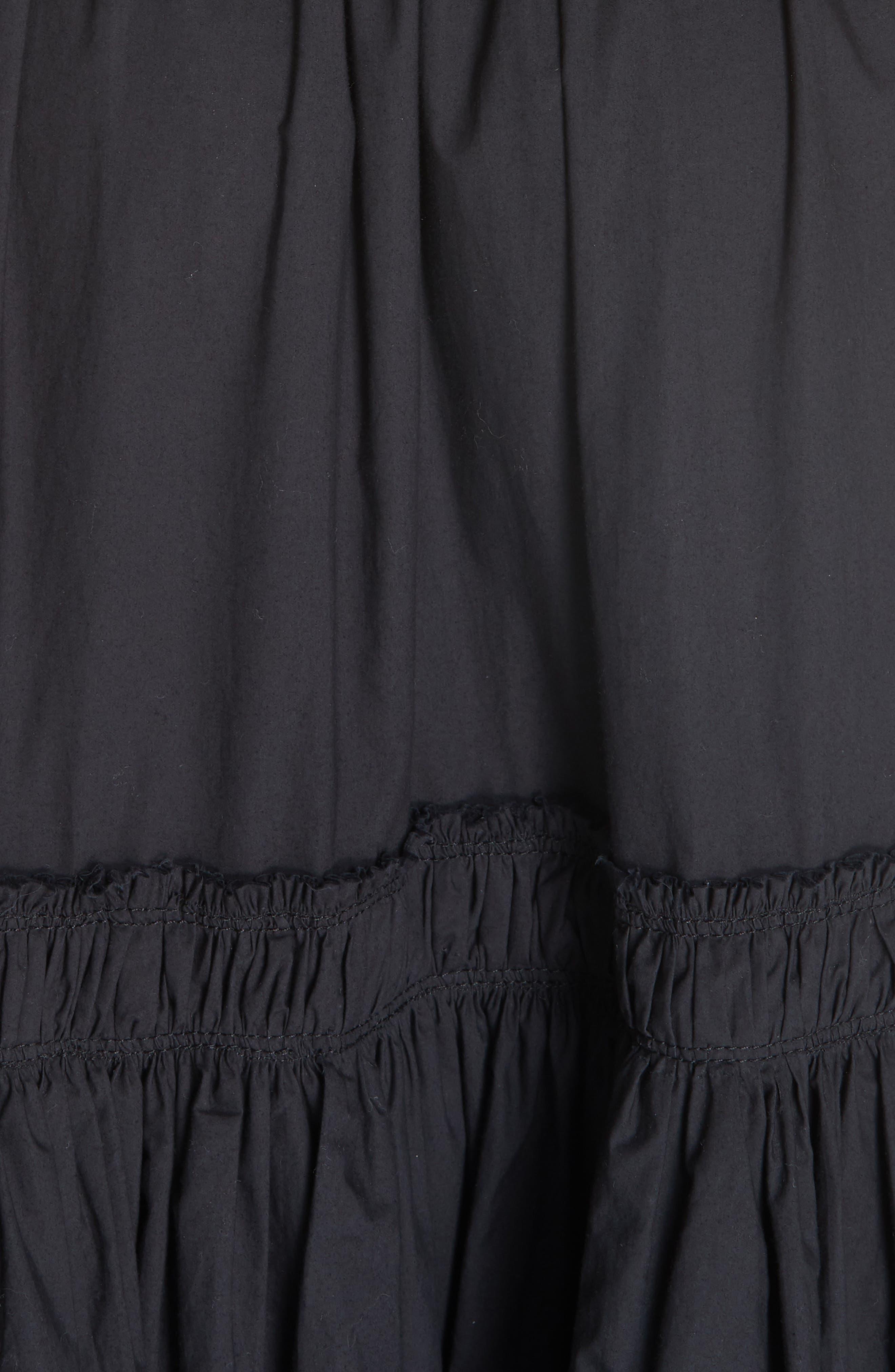 PROENZA SCHOULER, Smocked Poplin Dress, Alternate thumbnail 6, color, BLACK
