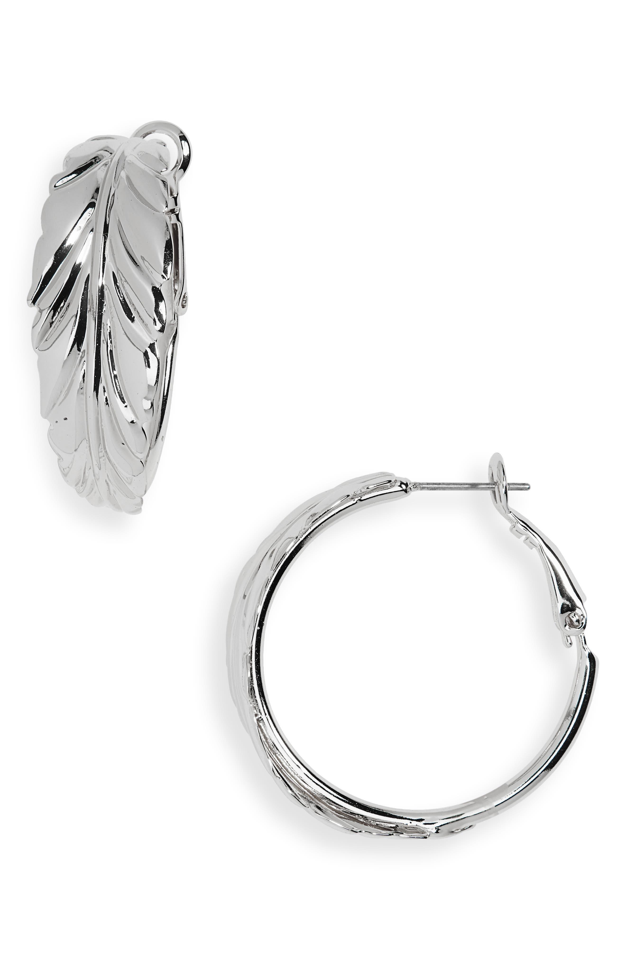 HALOGEN<SUP>®</SUP> Leaf Hoop Earrings, Main, color, RHODIUM