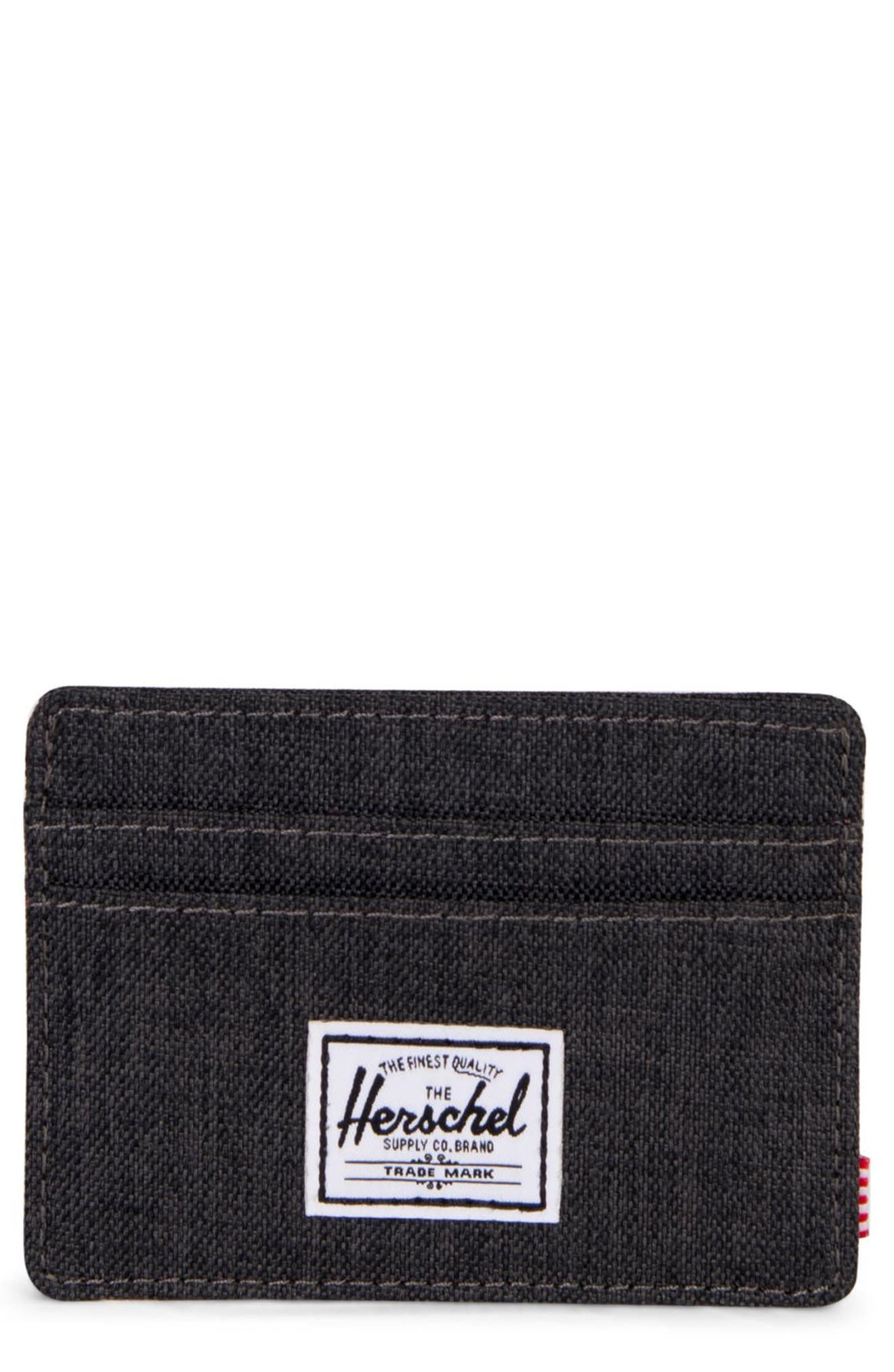 HERSCHEL SUPPLY CO., Charlie RFID Card Case, Main thumbnail 1, color, BLACK CROSSHATCH