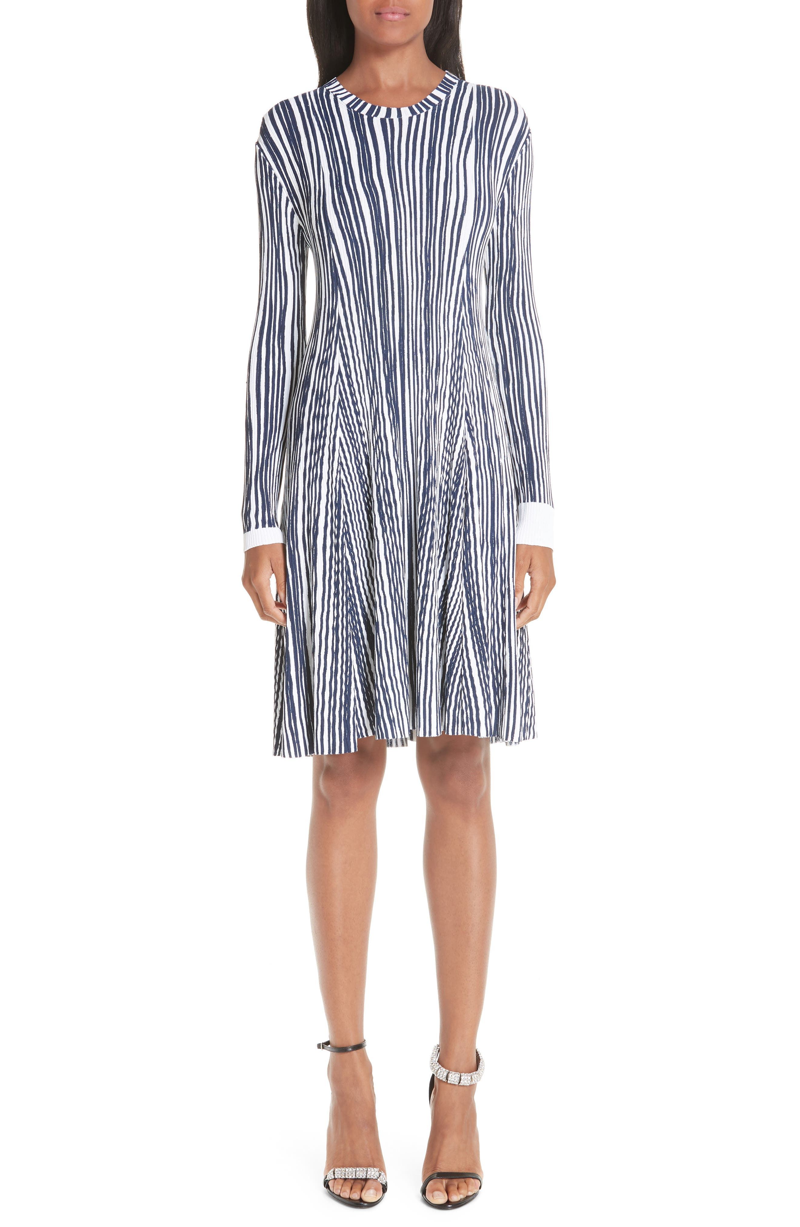 CALVIN KLEIN 205W39NYC Stripe Rib Knit Dress, Main, color, OPTIC WHITE INK BLUE
