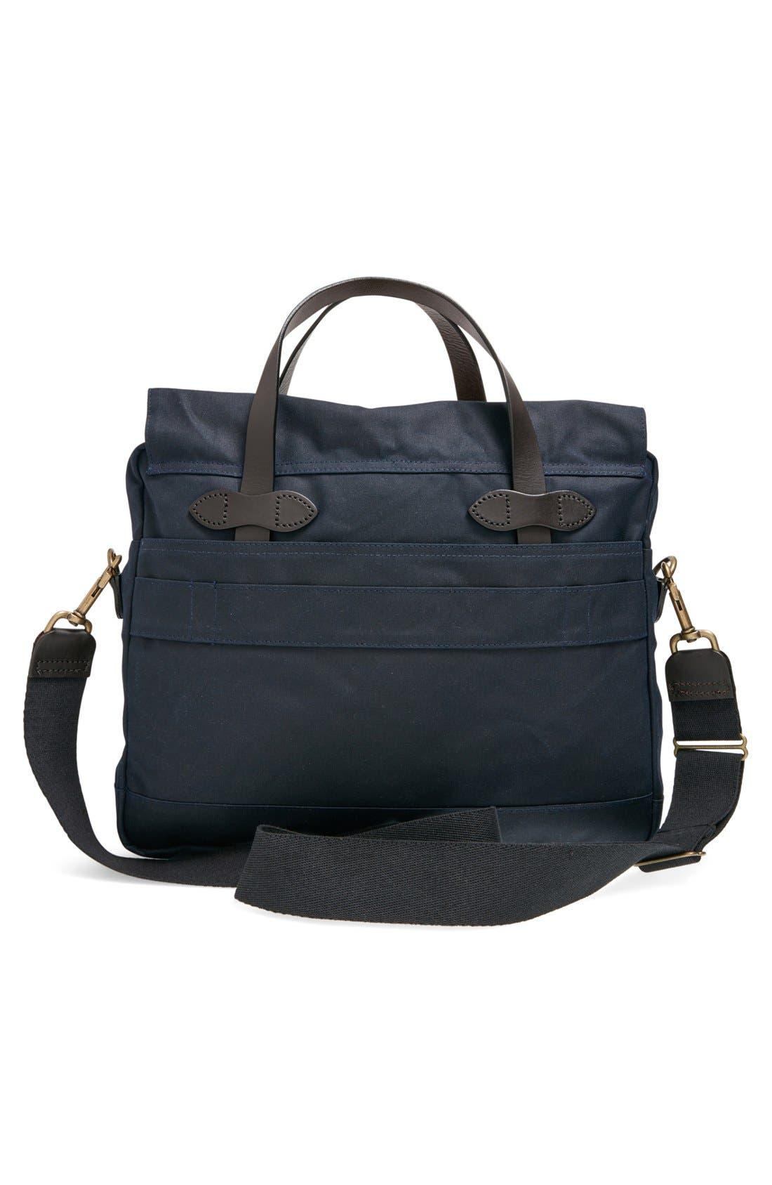 FILSON, '24 Hour' Tin Cloth Briefcase, Alternate thumbnail 4, color, NAVY