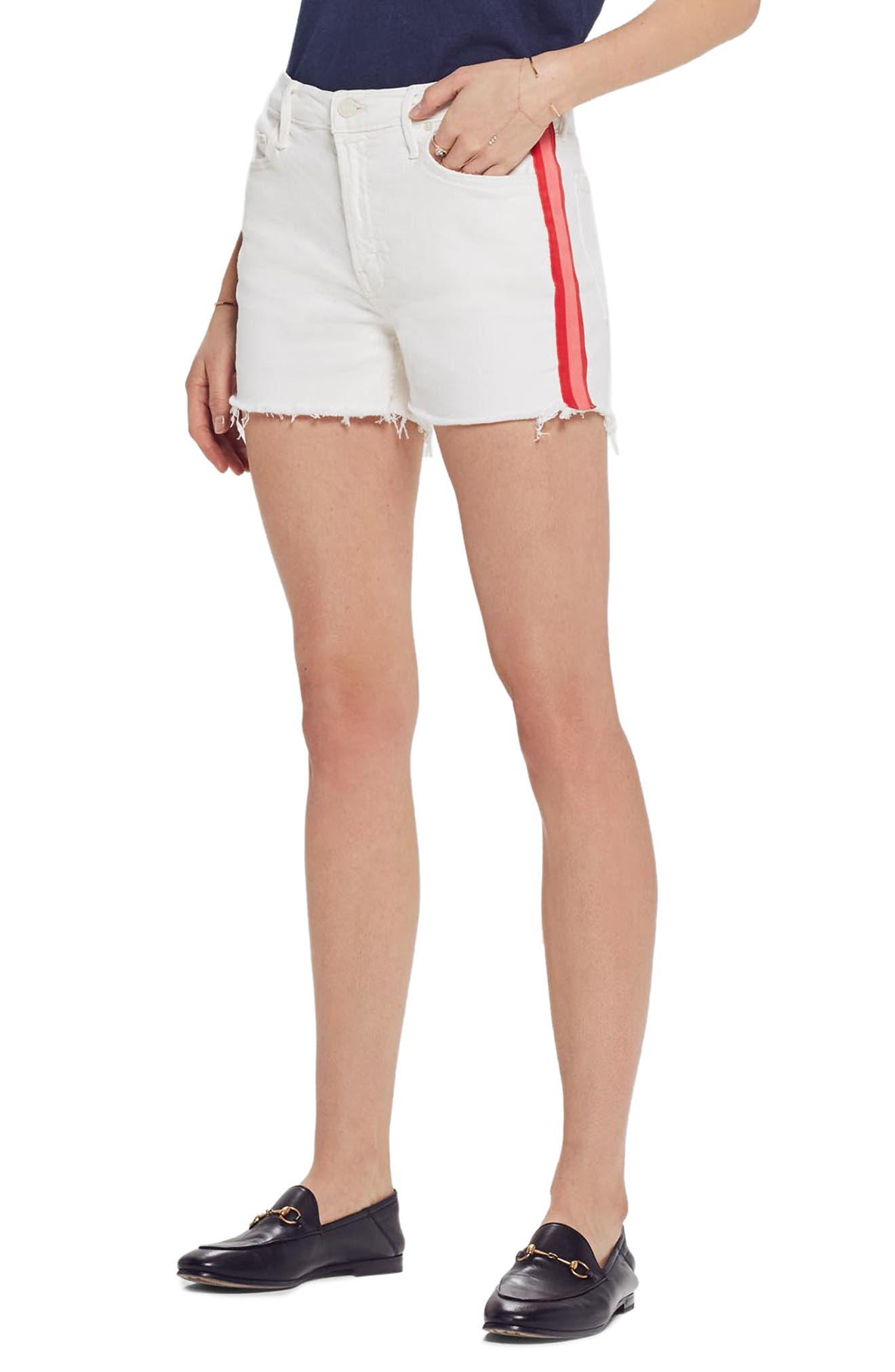 MOTHER, The Sinner Frayed Denim Shorts, Main thumbnail 1, color, WHIPPING THE CREAM PINK RACER