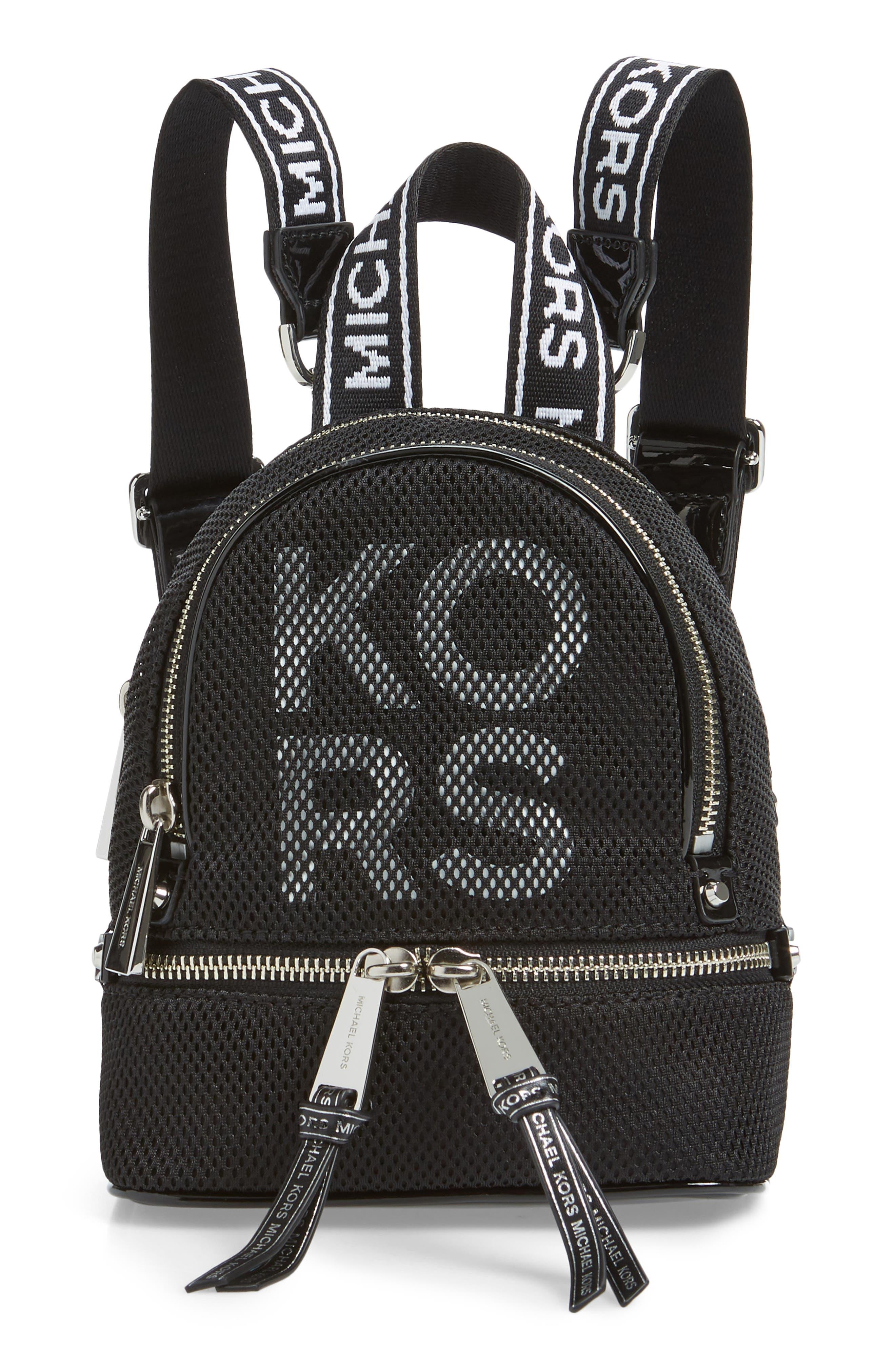 MICHAEL MICHAEL KORS, Extra Small Rhea Mesh Backpack, Main thumbnail 1, color, BLACK/ OPTIC WHITE