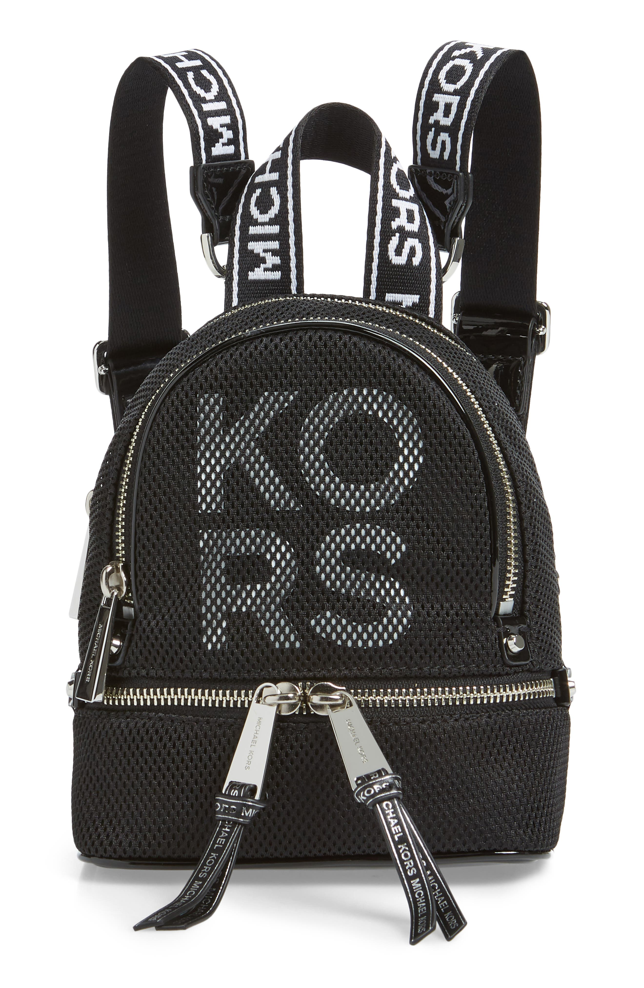 MICHAEL MICHAEL KORS Extra Small Rhea Mesh Backpack, Main, color, BLACK/ OPTIC WHITE