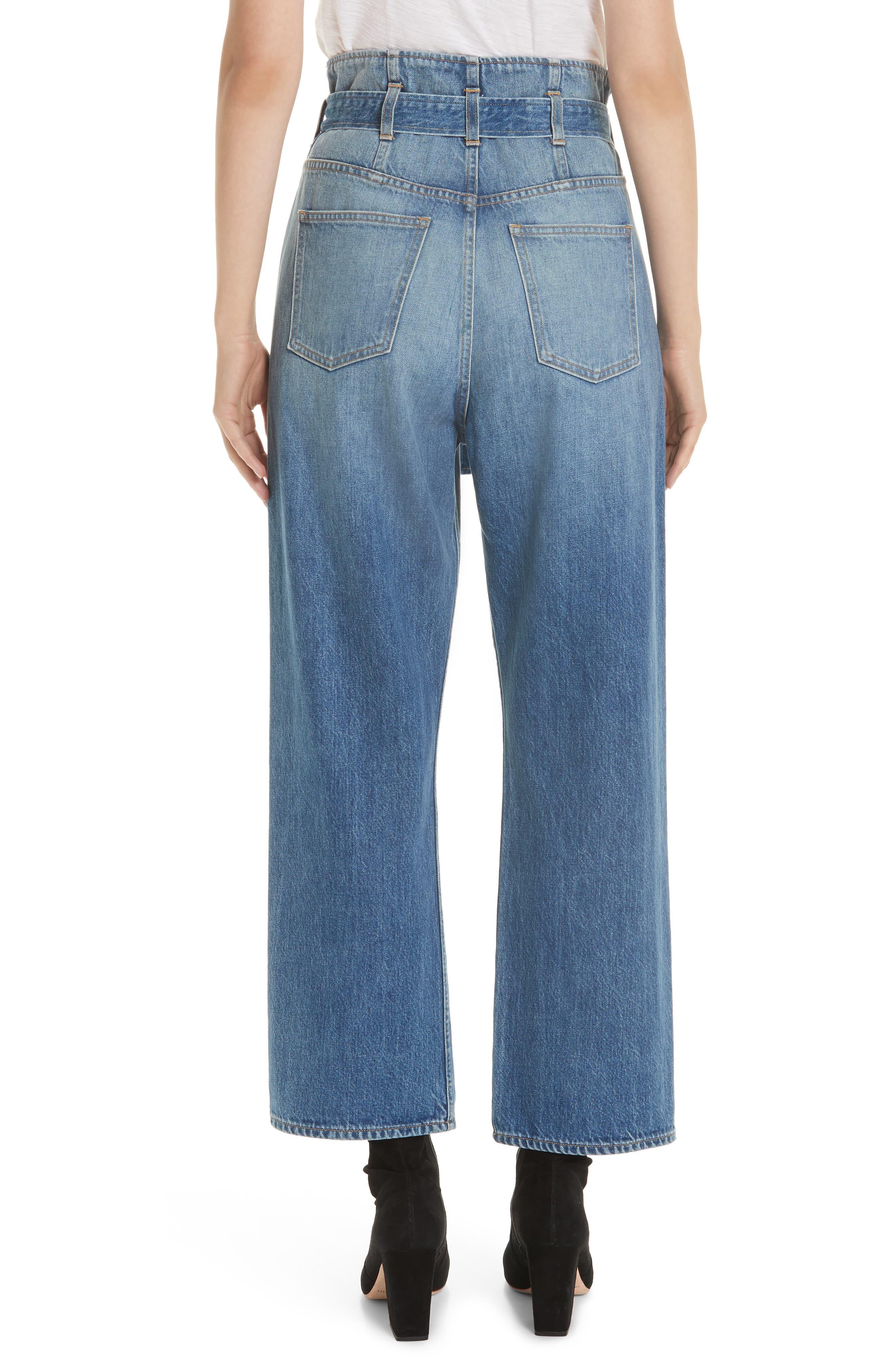 3X1 NYC, Kelly Paperbag Waist Ankle Wide Leg Jeans, Alternate thumbnail 2, color, MEG
