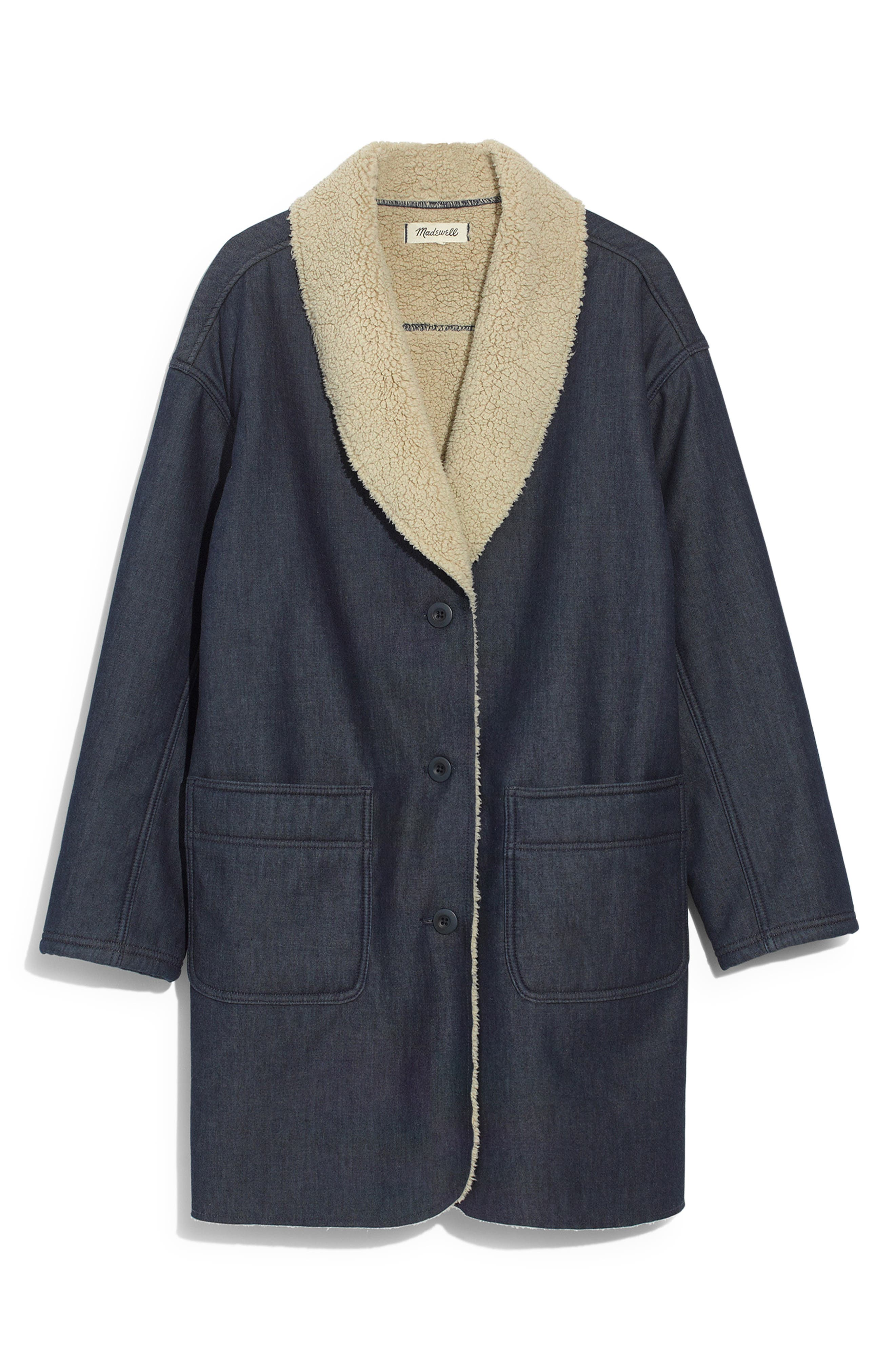 MADEWELL, Fleece Trim Denim Cocoon Coat, Alternate thumbnail 6, color, BRUNSWICK WASH
