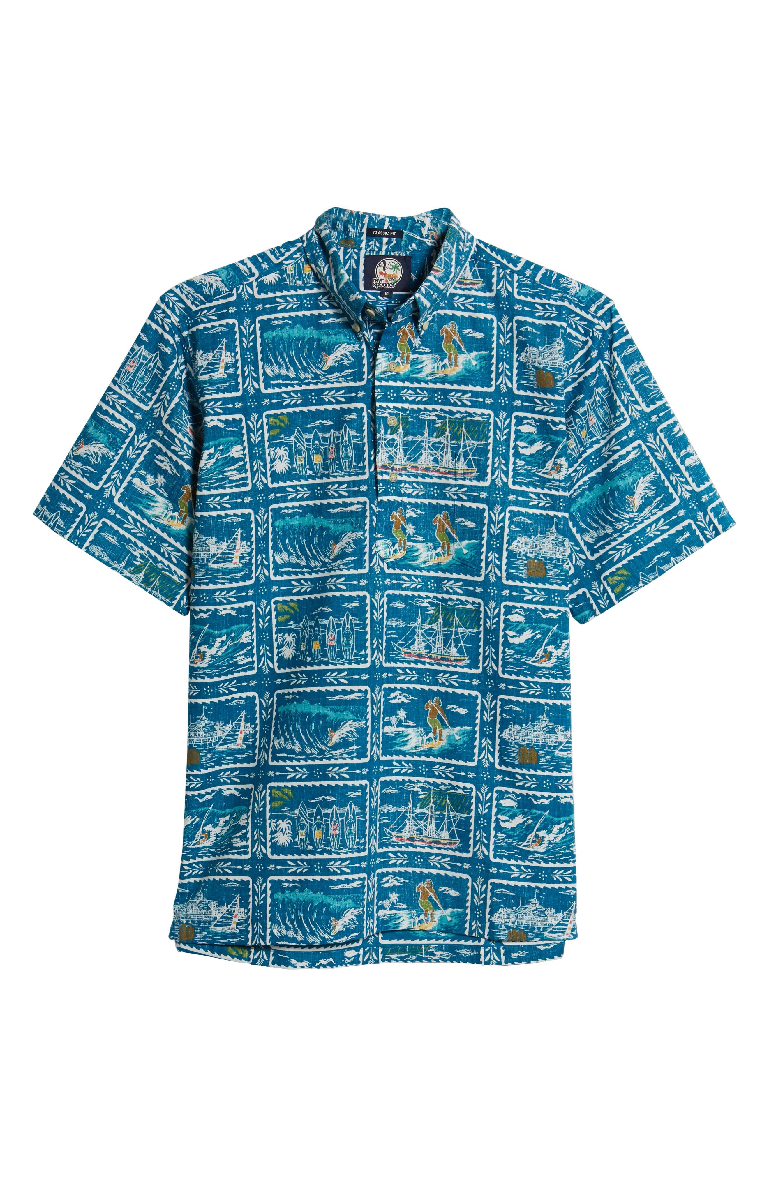 REYN SPOONER, Hawaiian Sports Classic Fit Pullover Sport Shirt, Alternate thumbnail 5, color, BLUE