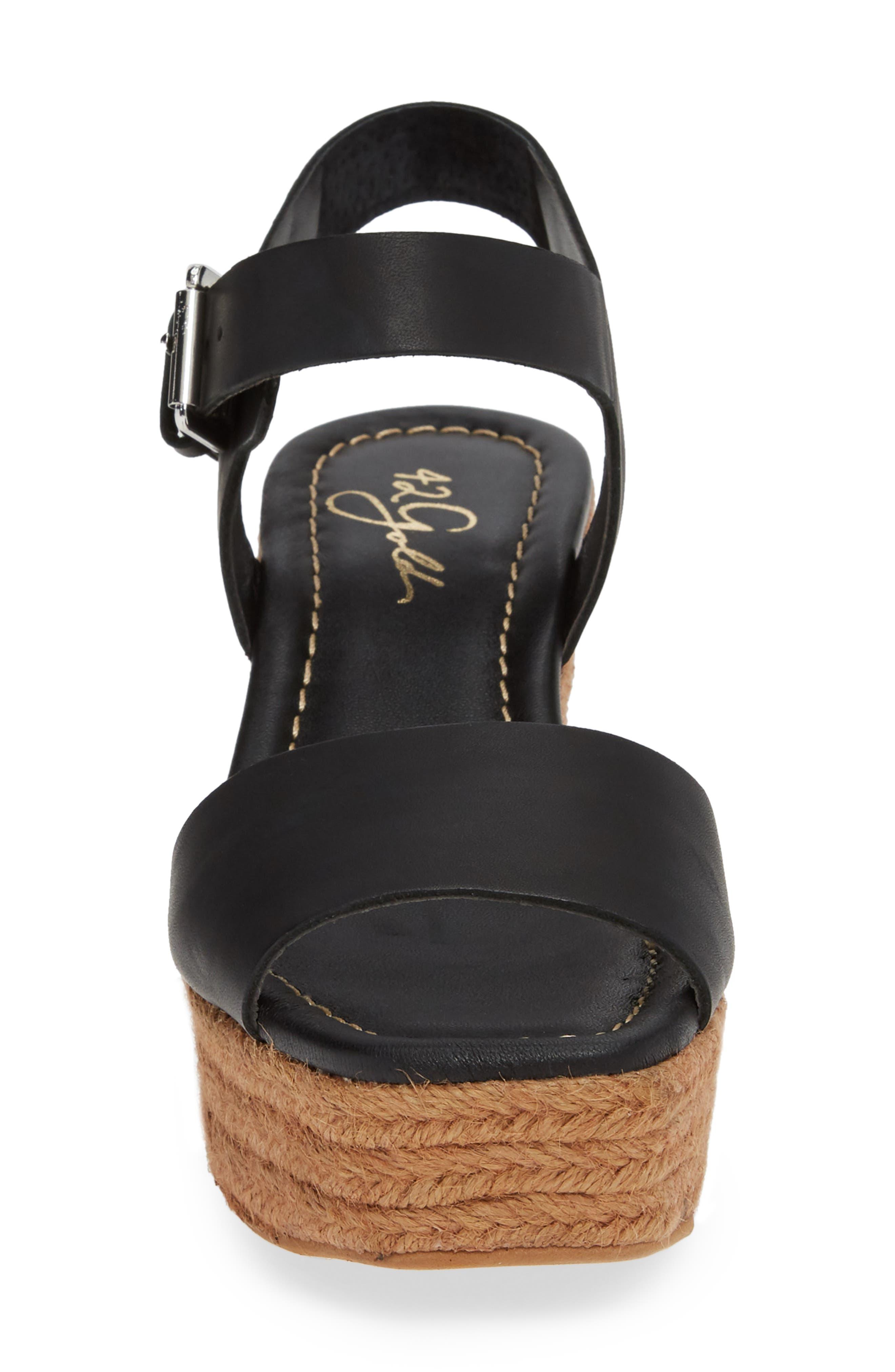 42 GOLD, Maine Platform Wedge Sandal, Alternate thumbnail 4, color, BLACK LEATHER