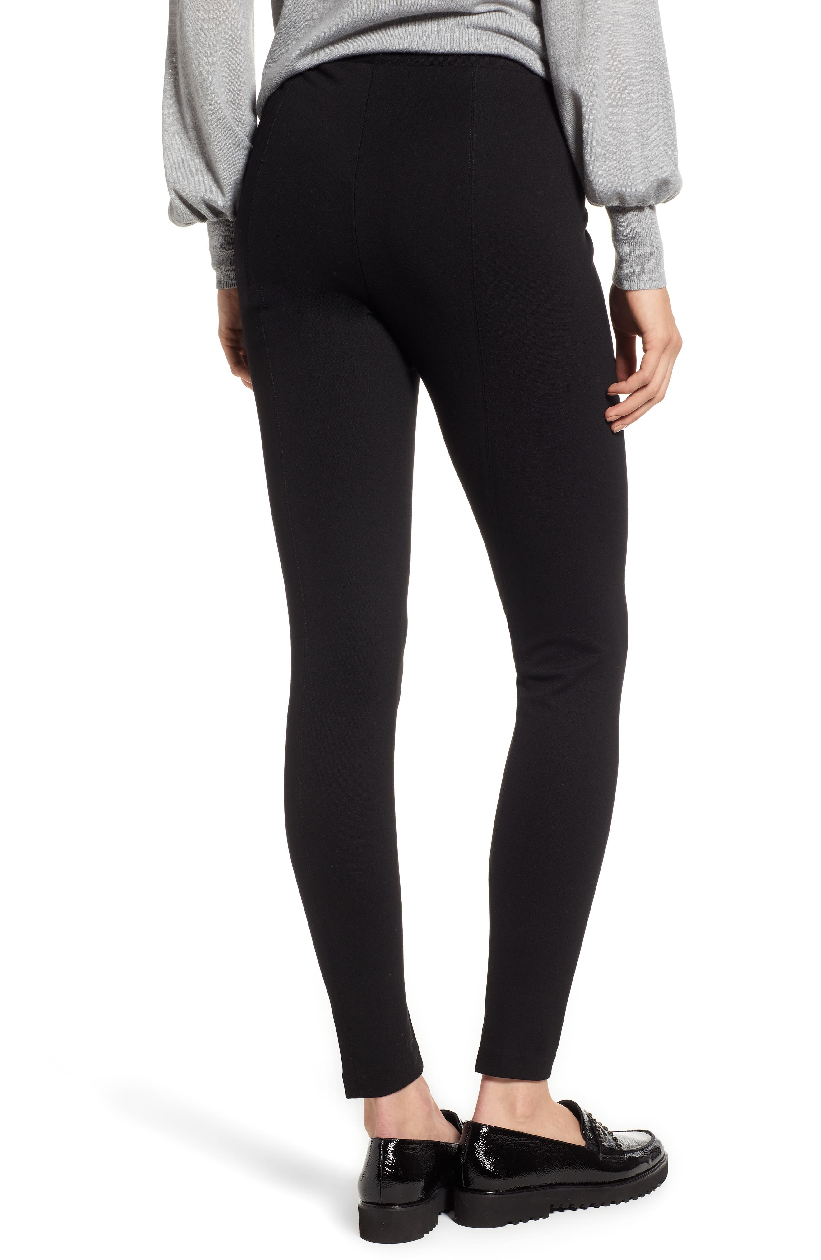 VINCE CAMUTO, Two by Vince Camuto Seamed Back Leggings, Alternate thumbnail 2, color, RICH BLACK