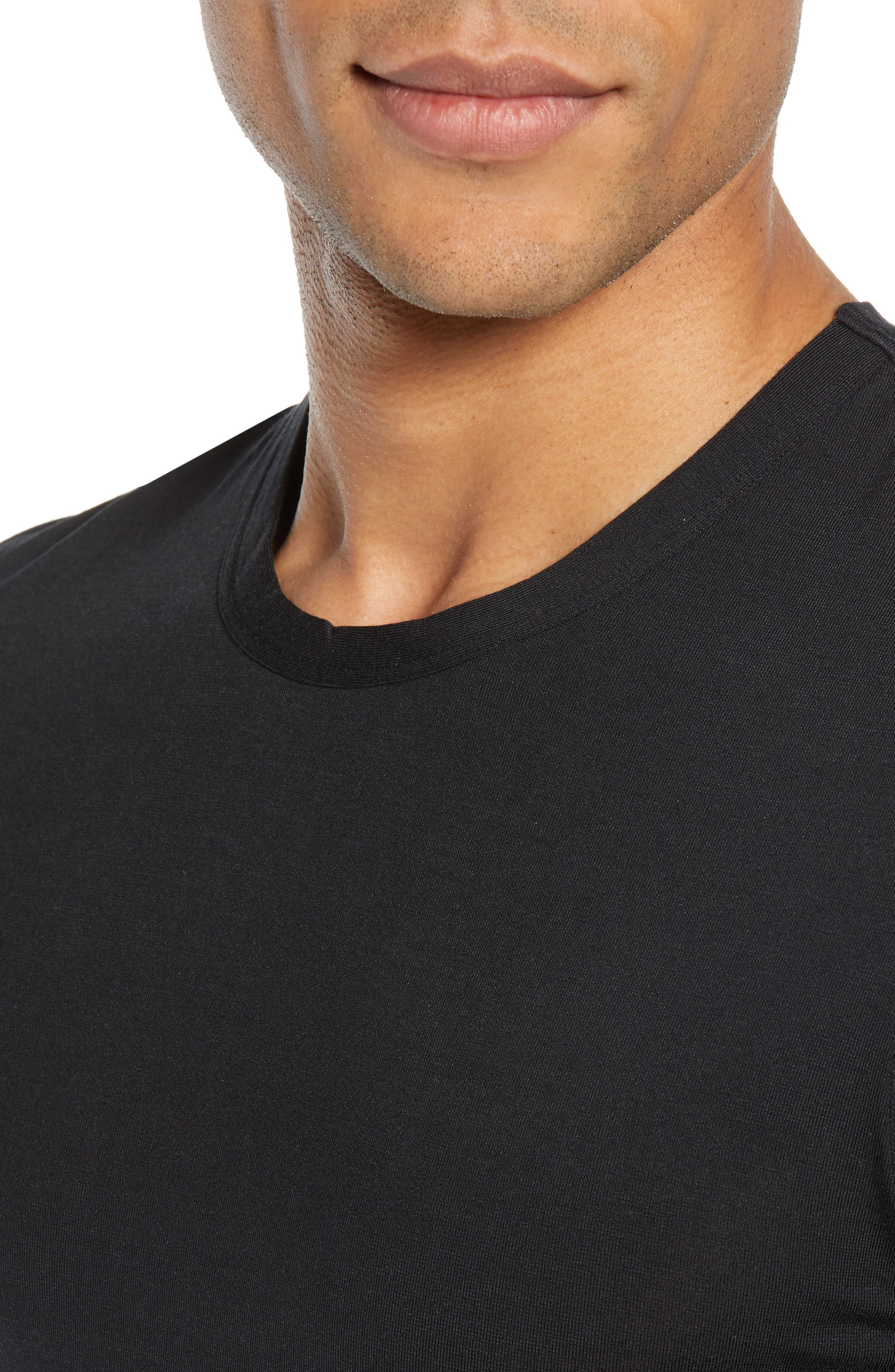 CALVIN KLEIN, Ultrasoft Stretch Modal Blend Crewneck T-Shirt, Alternate thumbnail 4, color, BLACK