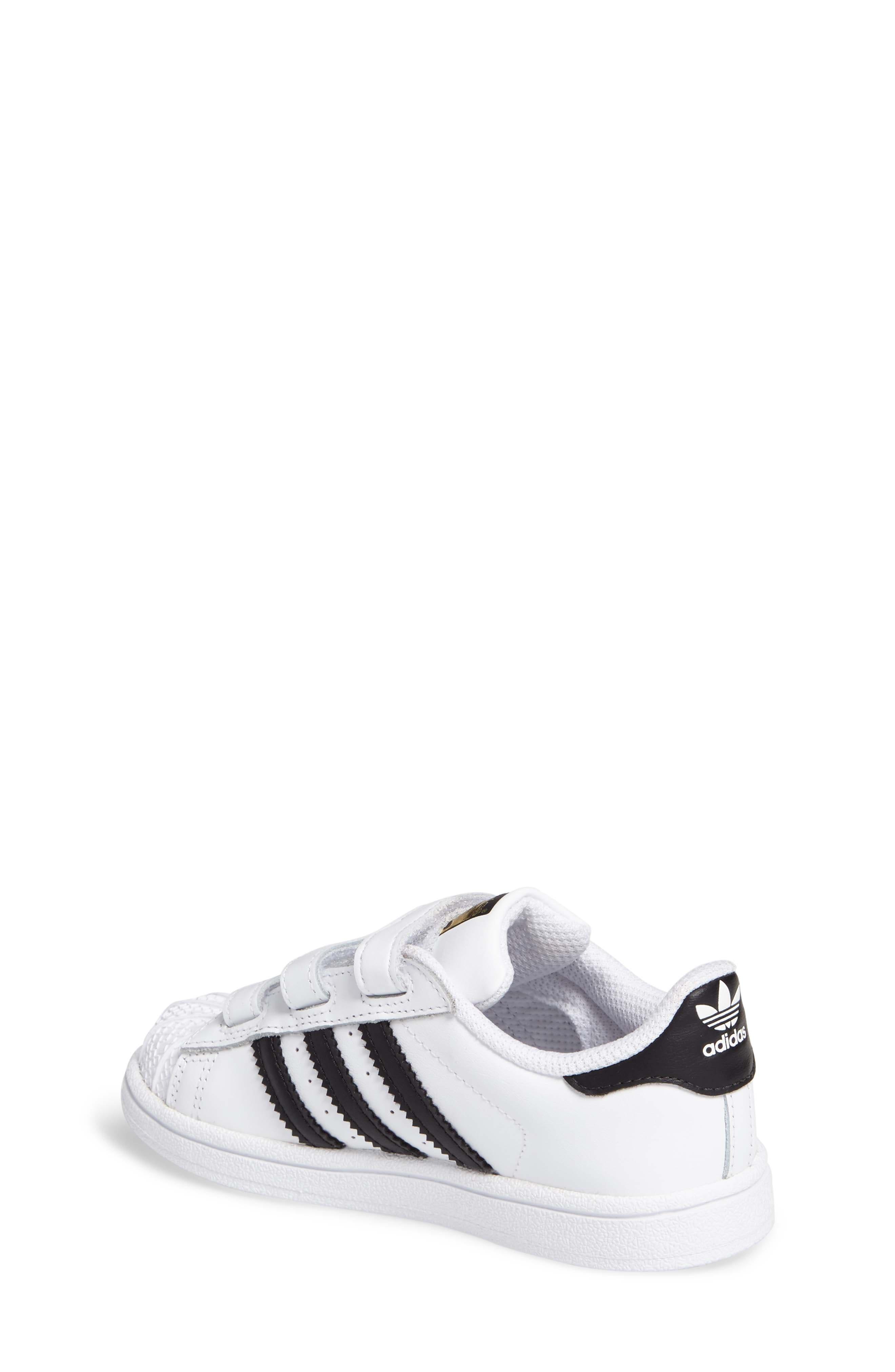 ADIDAS, Superstar Sneaker, Alternate thumbnail 2, color, WHITE/ BLACK/ WHITE