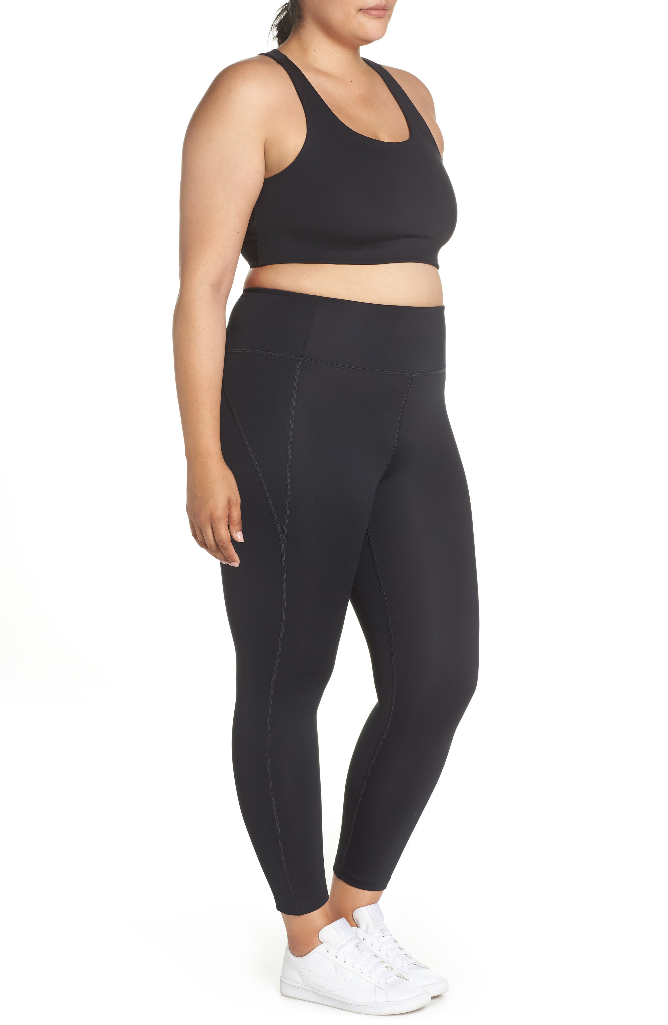 GIRLFRIEND COLLECTIVE, Cropped Paloma Sports Bra, Alternate thumbnail 16, color, 001