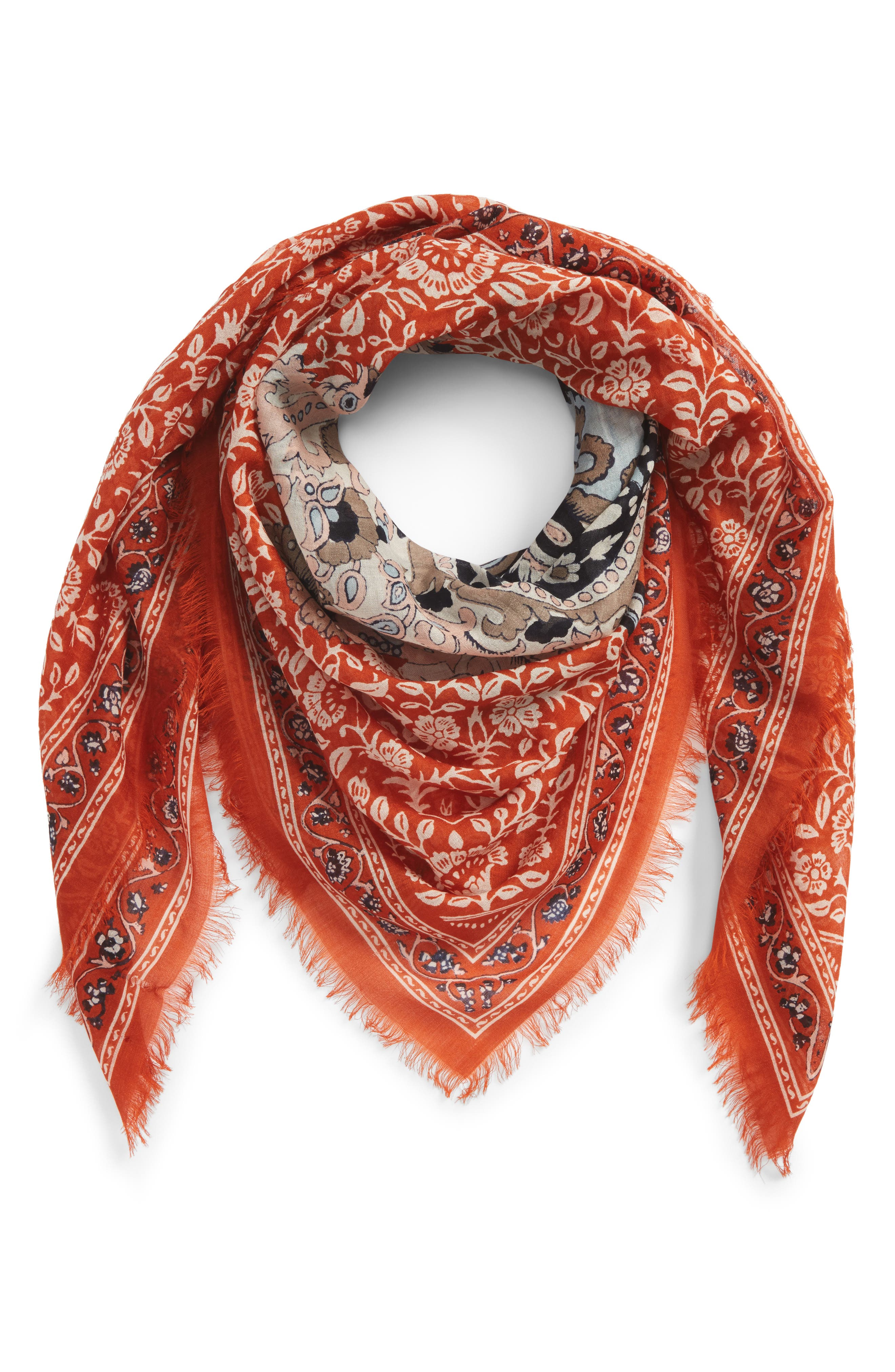 MADEWELL, Greta Paisley Square Scarf, Alternate thumbnail 2, color, RUSTY TORCH MULTI