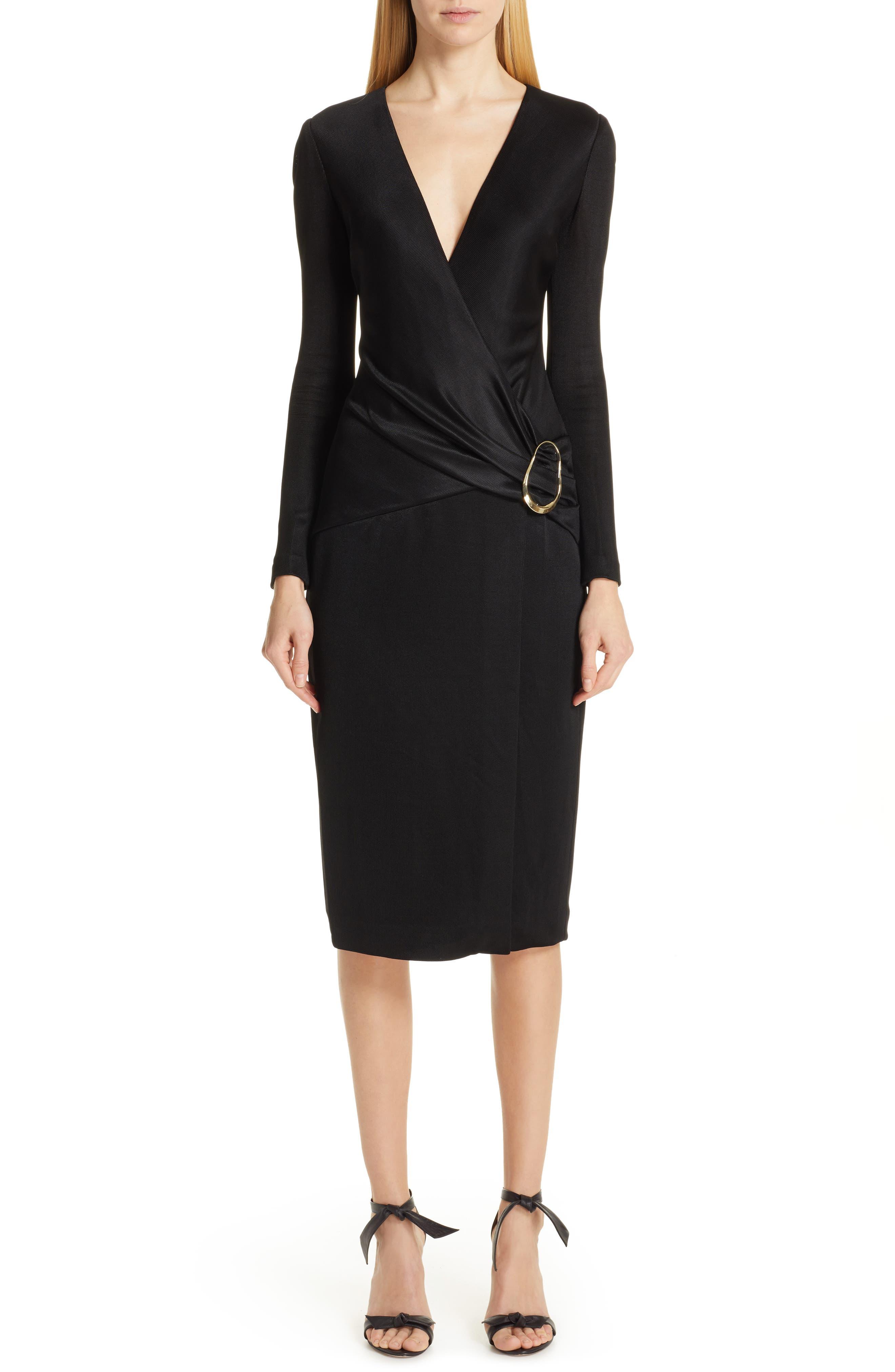 CUSHNIE Sahara Pencil Dress, Main, color, BLACK