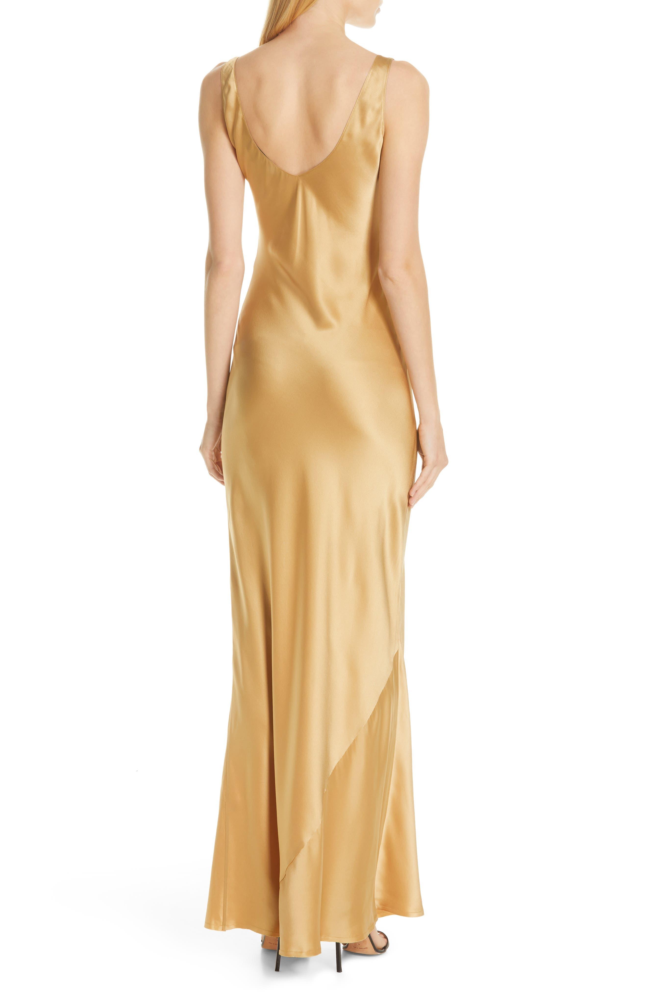 NILI LOTAN, Bazile Silk Evening Dress, Alternate thumbnail 2, color, GOLDEN
