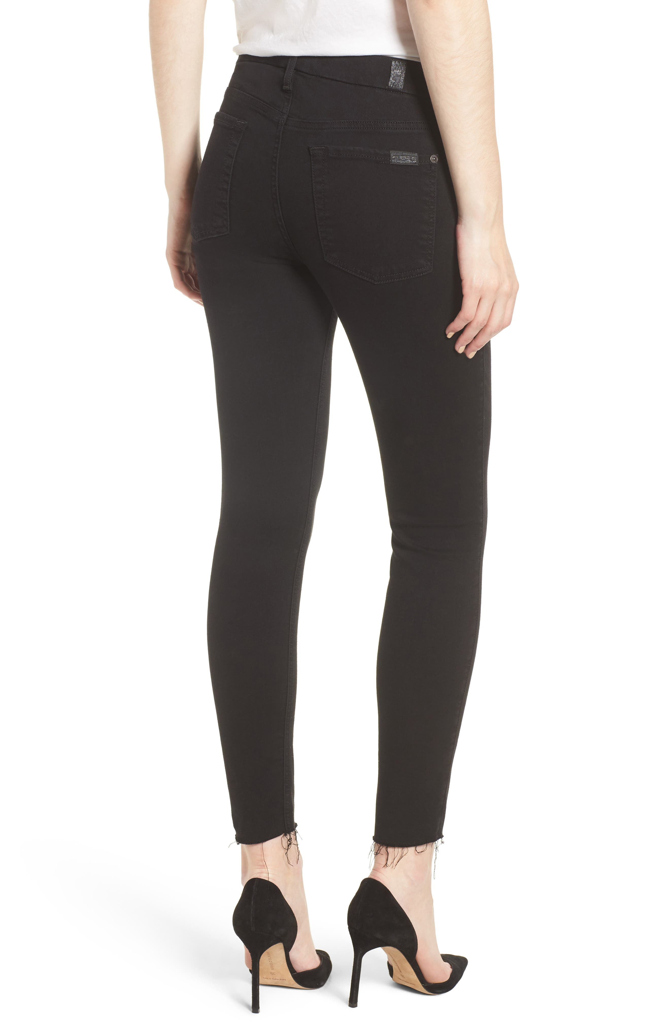 7 FOR ALL MANKIND<SUP>®</SUP>, b(air) Raw Hem Crop Skinny Jeans, Alternate thumbnail 2, color, BAIR BLACK