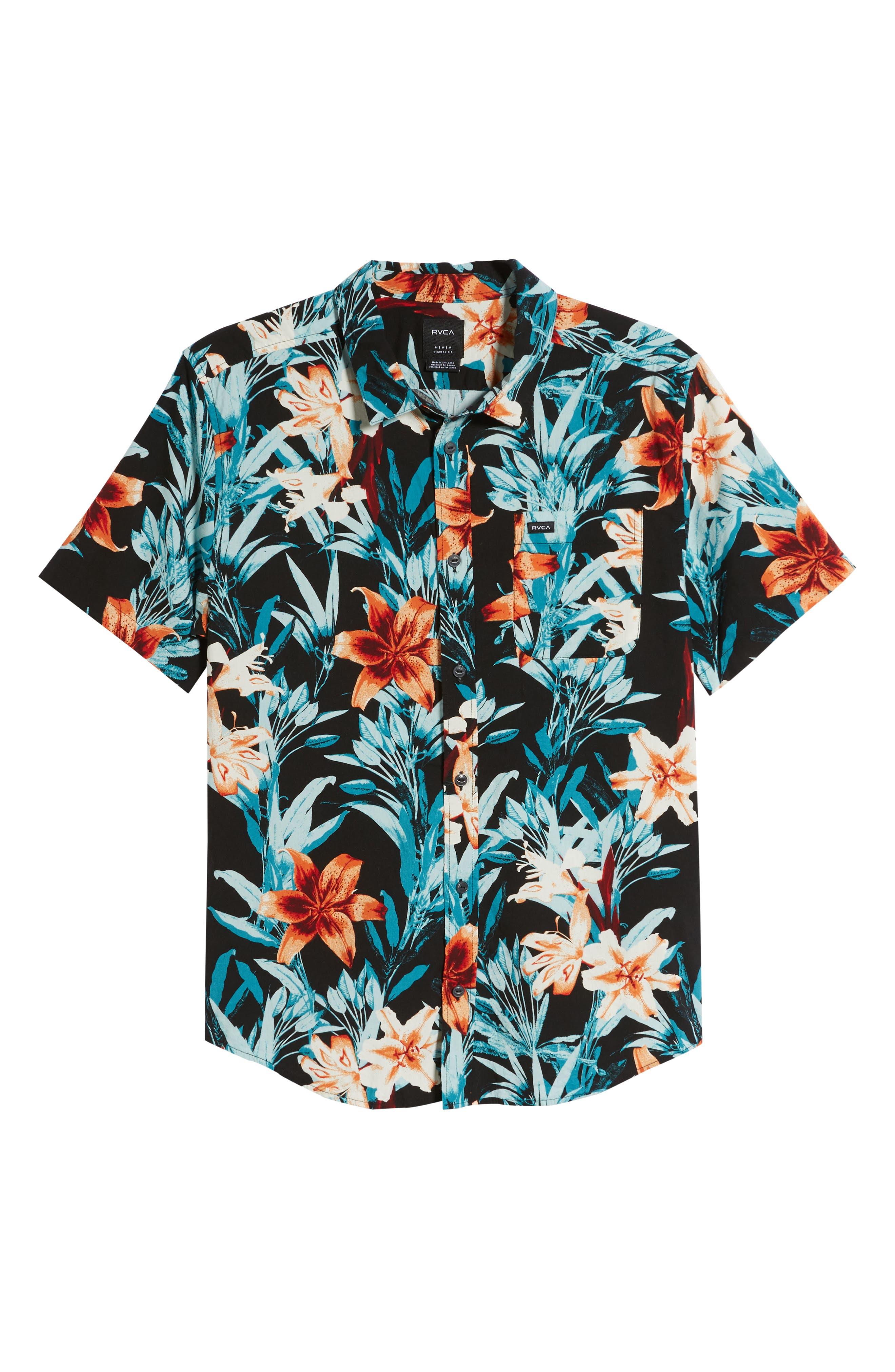 RVCA, Montague Floral Woven Shirt, Alternate thumbnail 5, color, 001