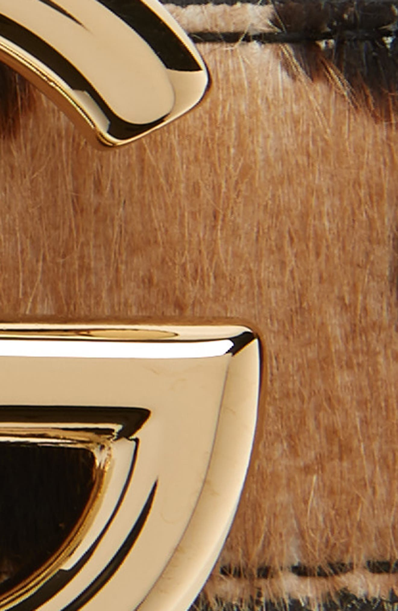 DOLCE&GABBANA, Leopard Spot Genuine Calf Hair Belt, Alternate thumbnail 3, color, LEOPARD