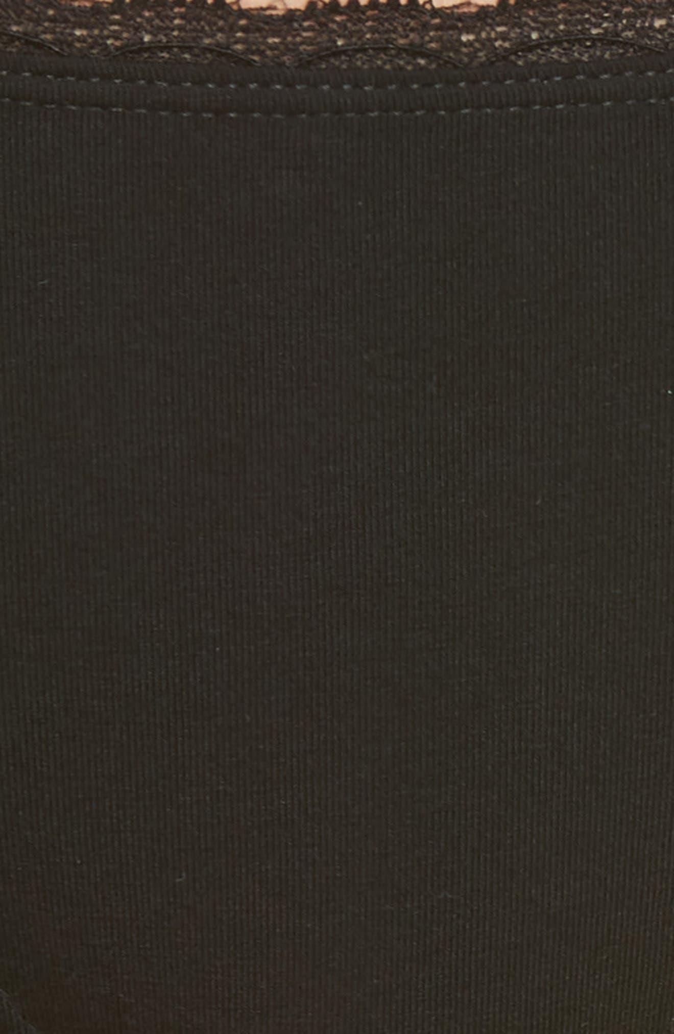 MAKE + MODEL, Lace Trim Bikini, Alternate thumbnail 5, color, BLACK