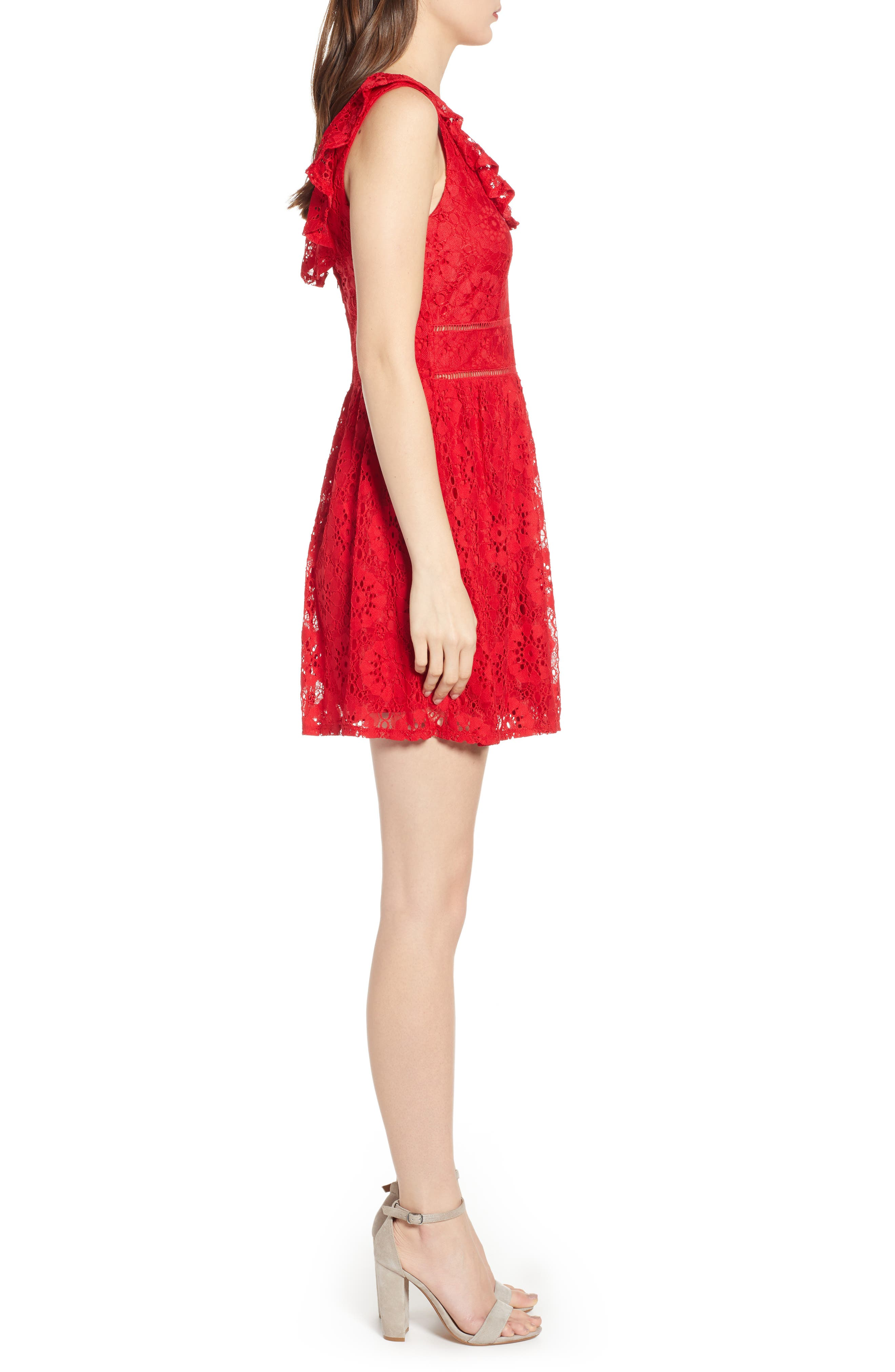 SPEECHLESS, Lace Ruffle Neck Skater Dress, Alternate thumbnail 4, color, RED