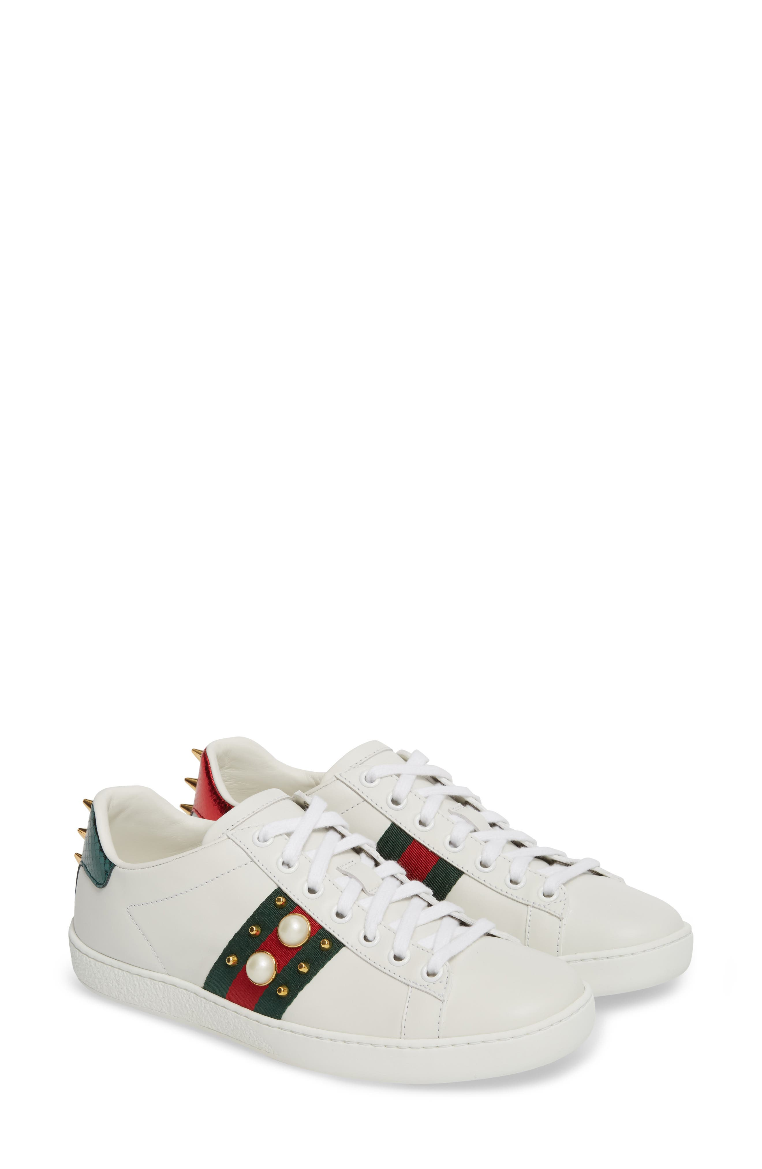 GUCCI New Ace Low Top Sneaker, Main, color, WHITE/ RED